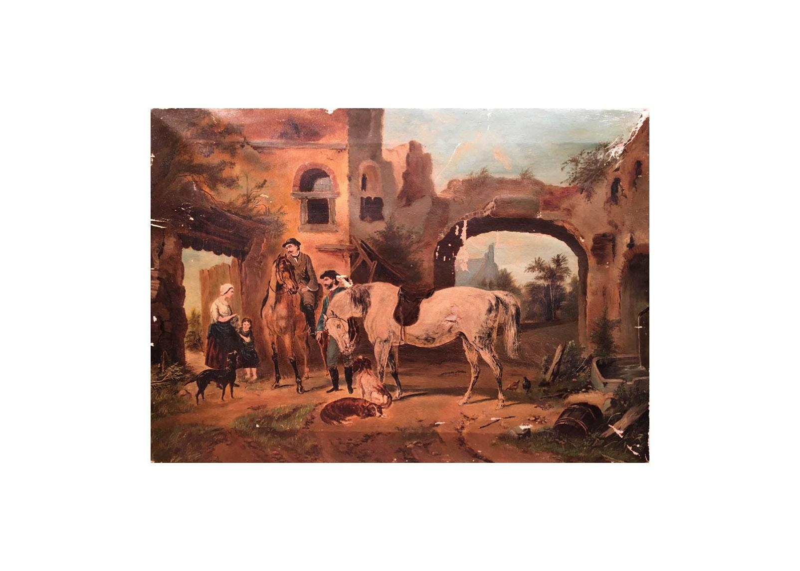 English Equestrian Oil, 1880's