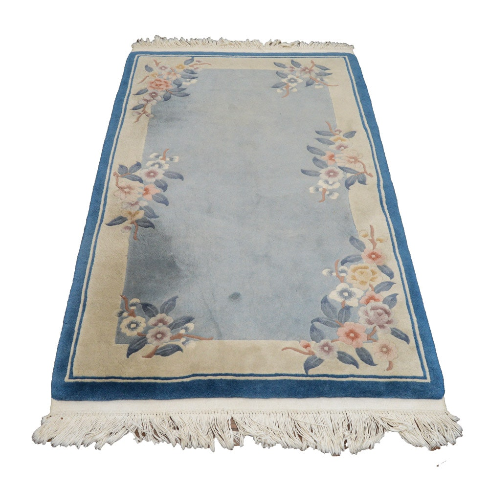 "Hand-Knotted and Carved Pagoda ""Hwa Tah"" Blue and Cream Wool Area Rug"