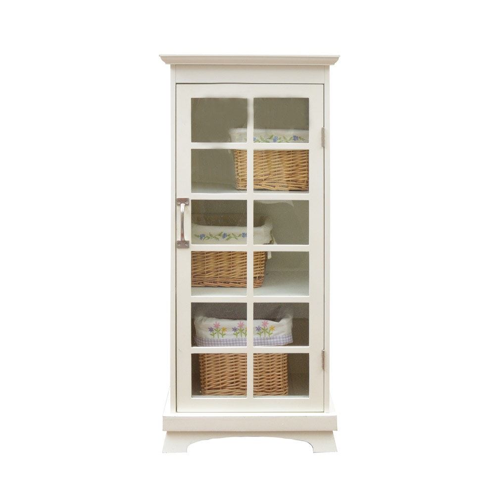Glass Paned White Cabinet with Baskets