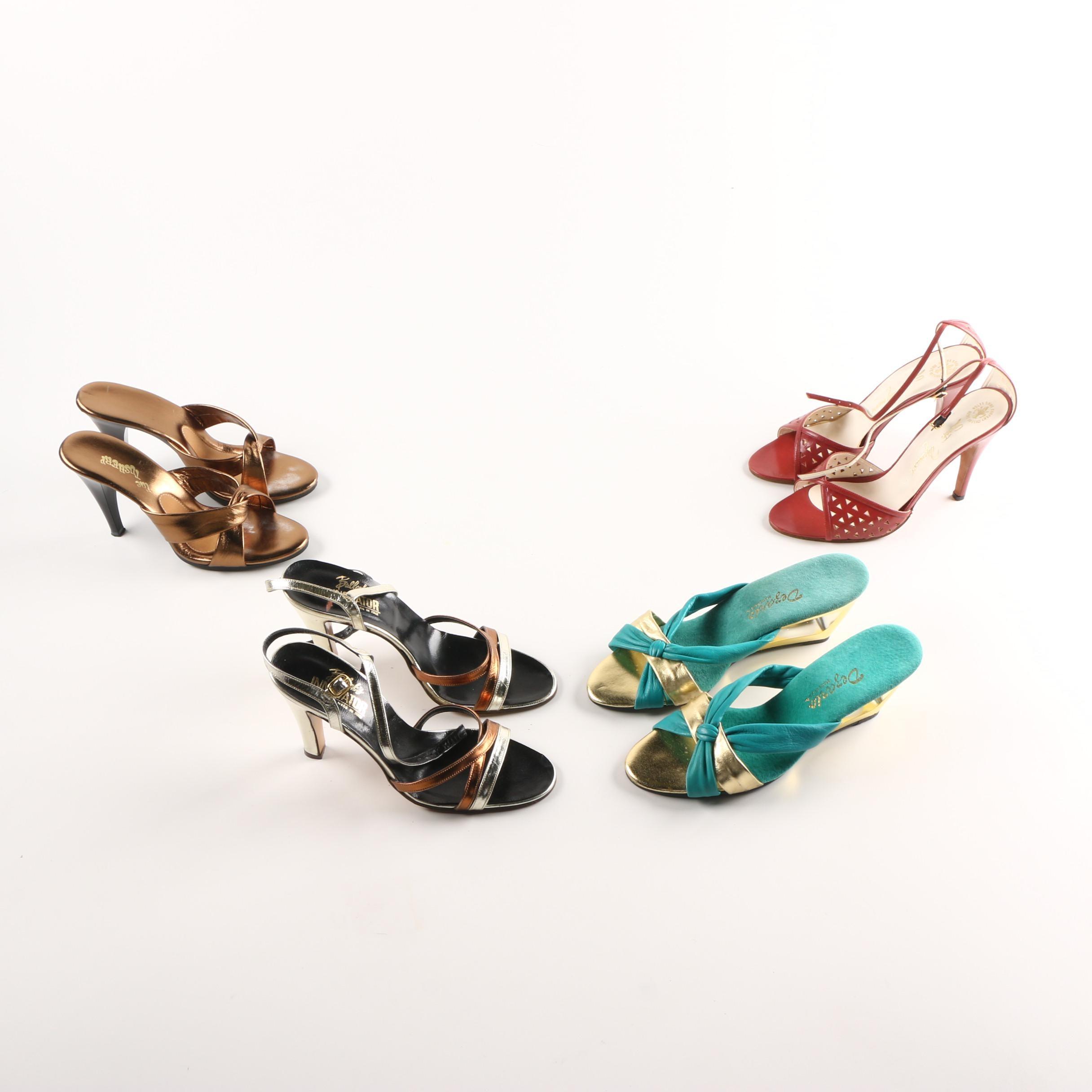 Vintage High Heel Slides and Sandals