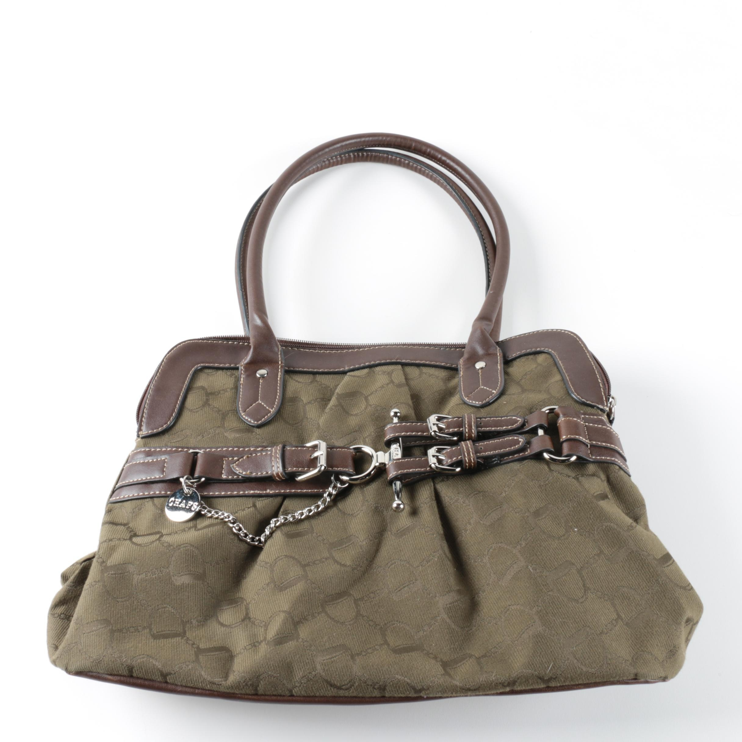 Chaps Faux Leather and Canvas Bag