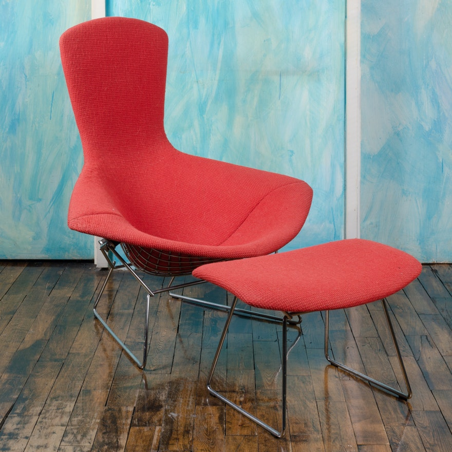 """Harry Bertoia for Knoll """"Bird"""" Lounge Chair and Ottoman"""