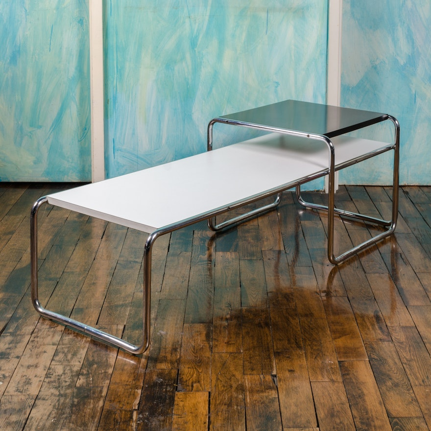 """Mid Century Modern """"Laccio"""" Nesting Coffee and Side Table by Breuer for Knoll"""