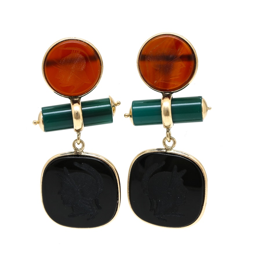 6b9387e628e29 14K Yellow Gold Intaglio Agate, Black Onyx and Green Chalcedony Dangle  Earrings