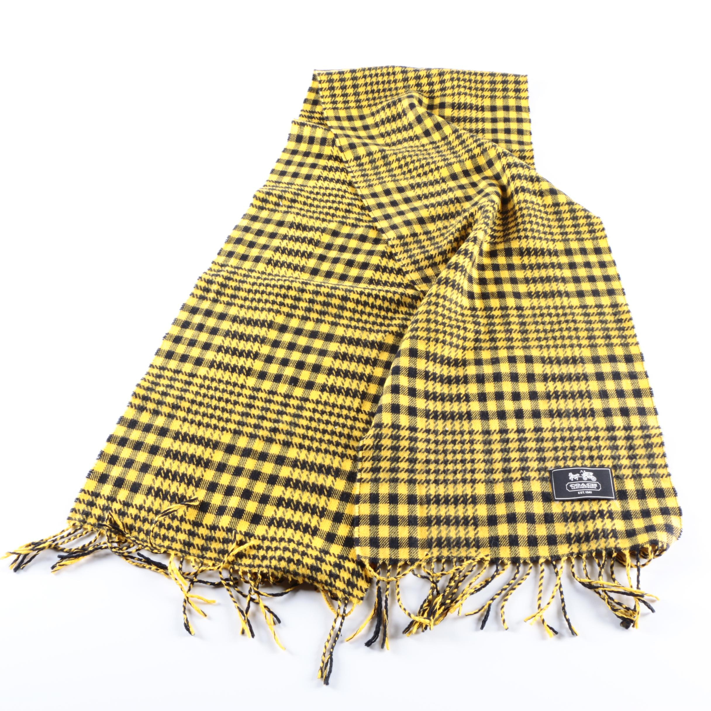 Coach Plaid Wool Scarf