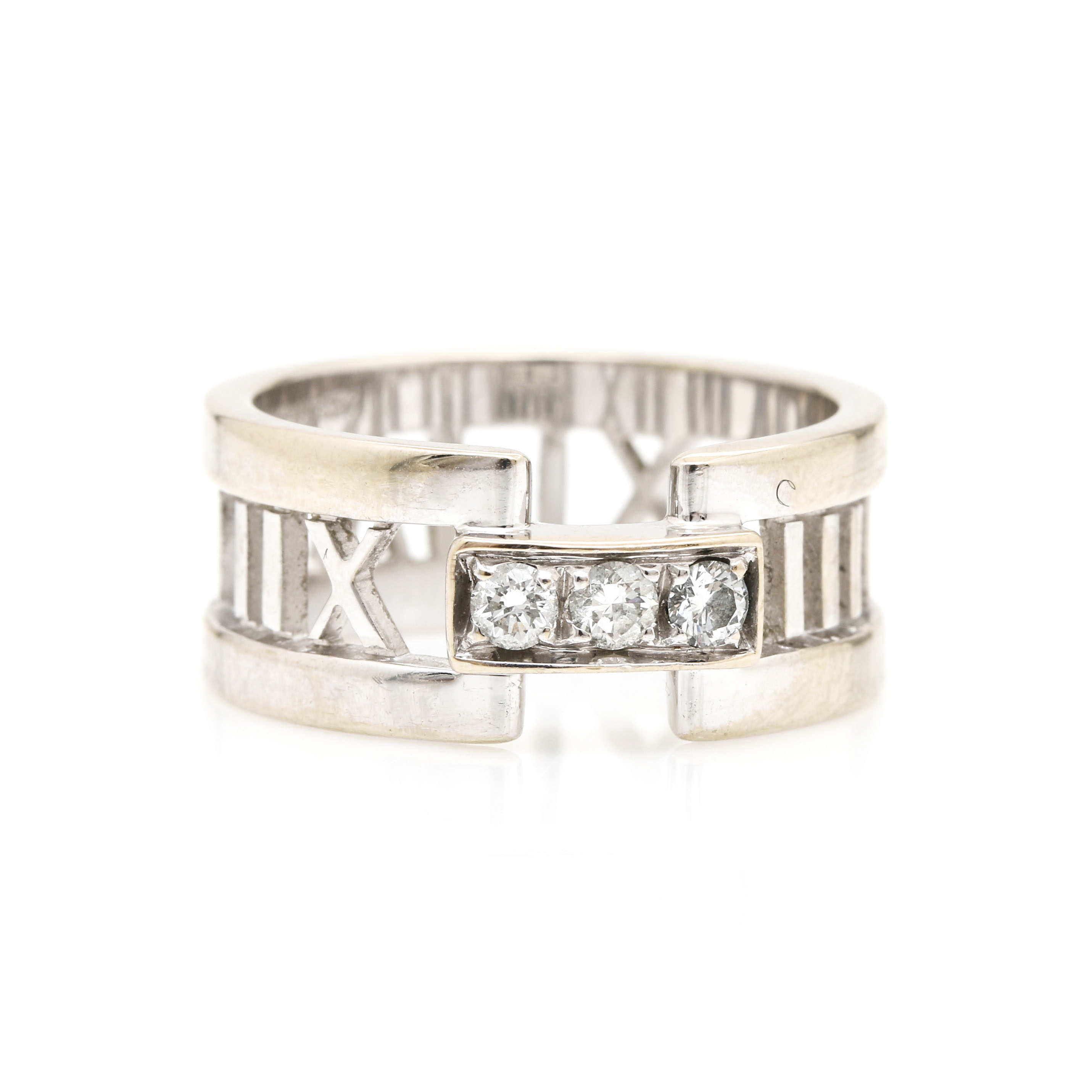 "Tiffany & Co. ""Atlas"" 18K White Gold Diamond Ring"