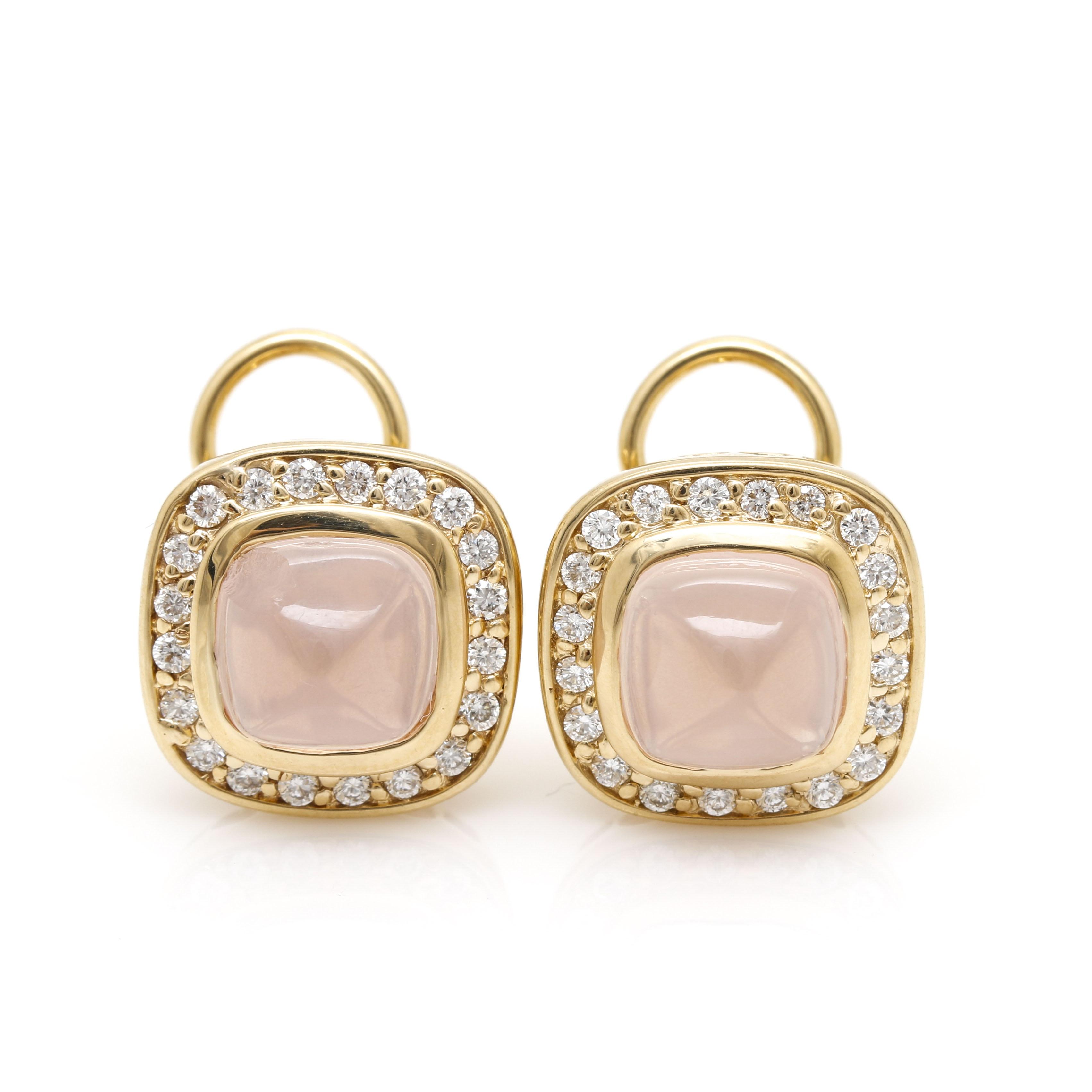 18K Yellow Gold Rose Quartz and Diamond Earrings