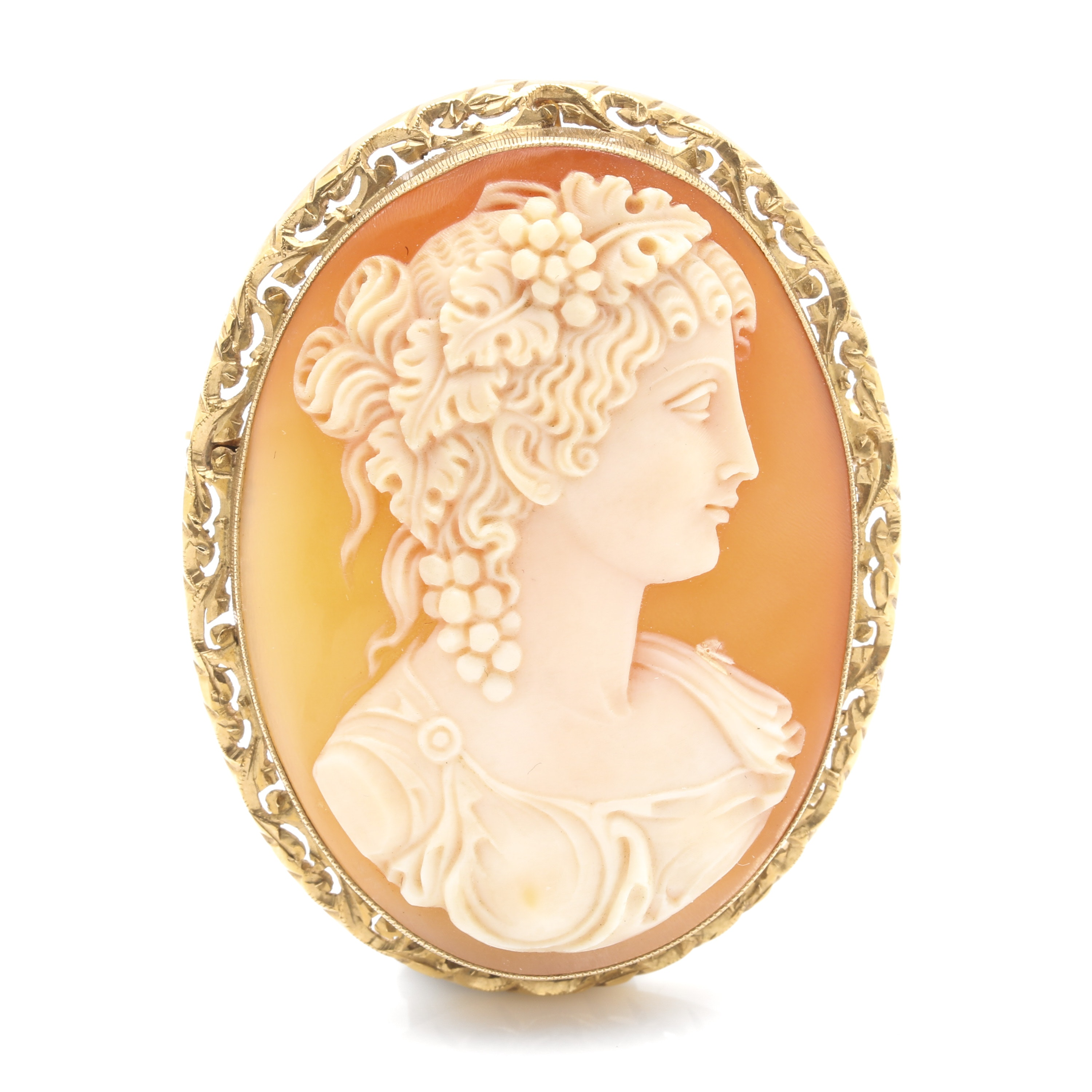 18K Yellow Gold Carved Shell Converter Cameo Brooch