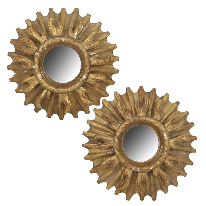 Pair of Antique French Gilt and Gesso Wood Sunburst Round Wall Mirrors