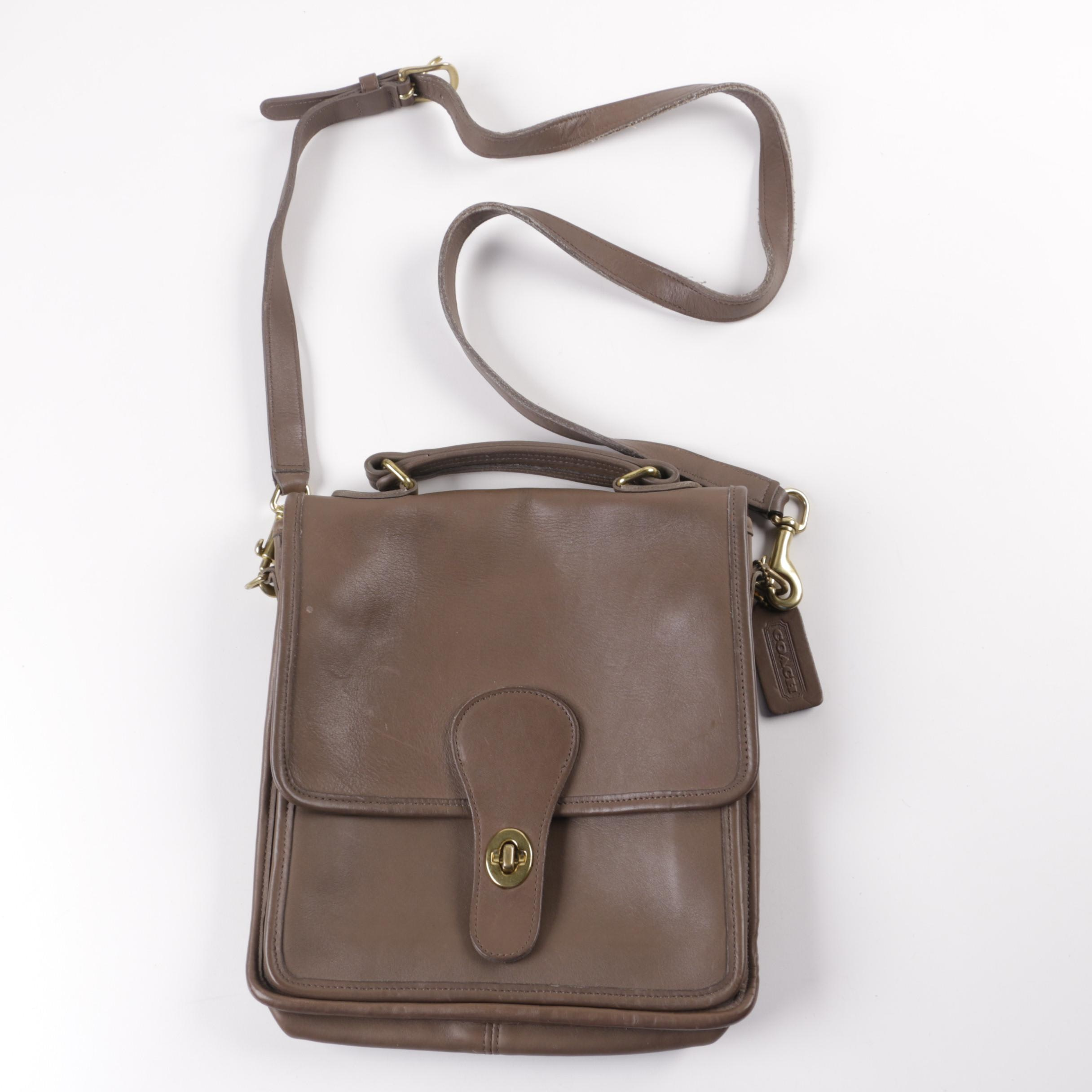 Vintage Coach Station Taupe Leather Crossbody