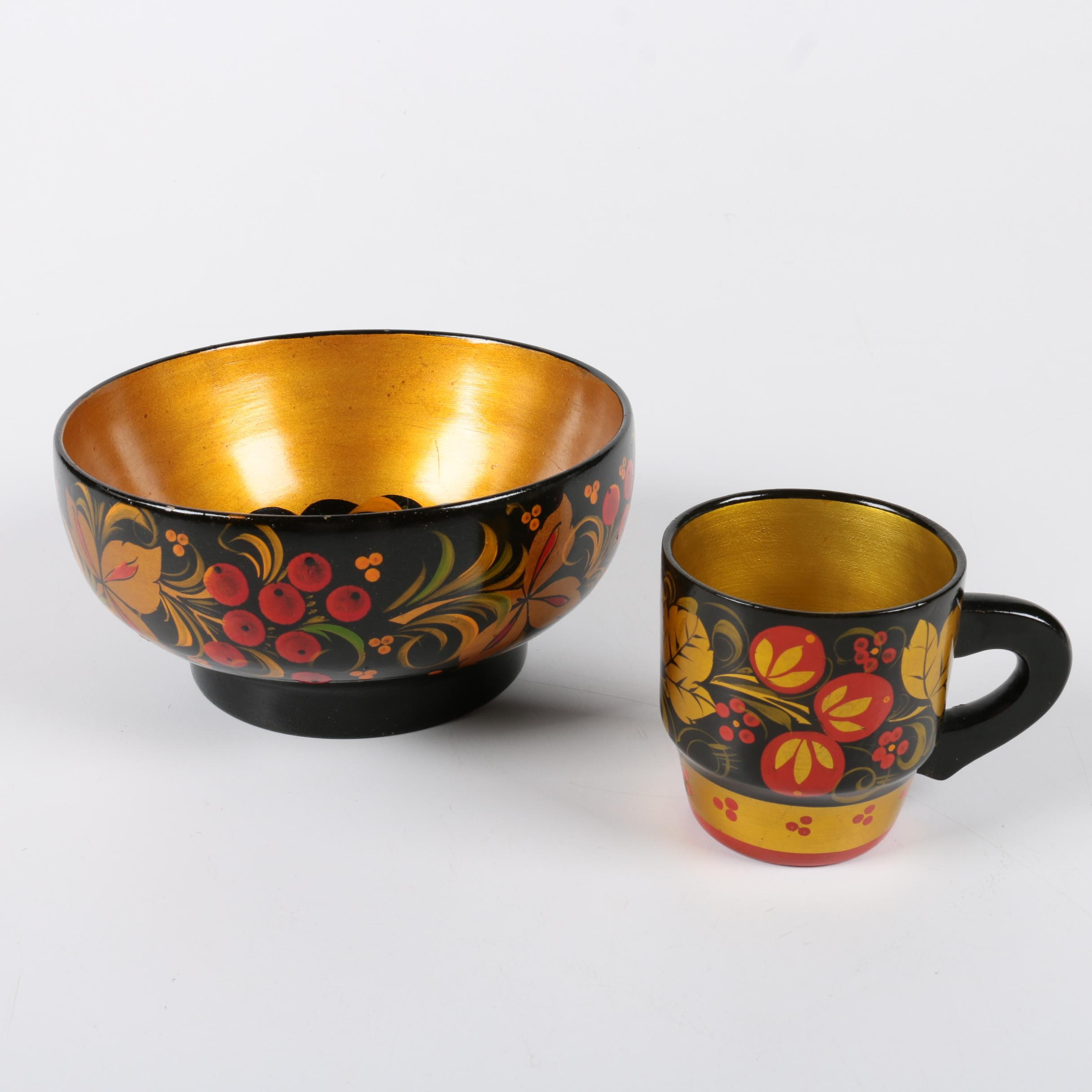 Khokhloma Wooden Bowl and Cup