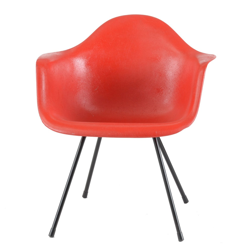 Eames Style Red Fiberglass Shell Chair