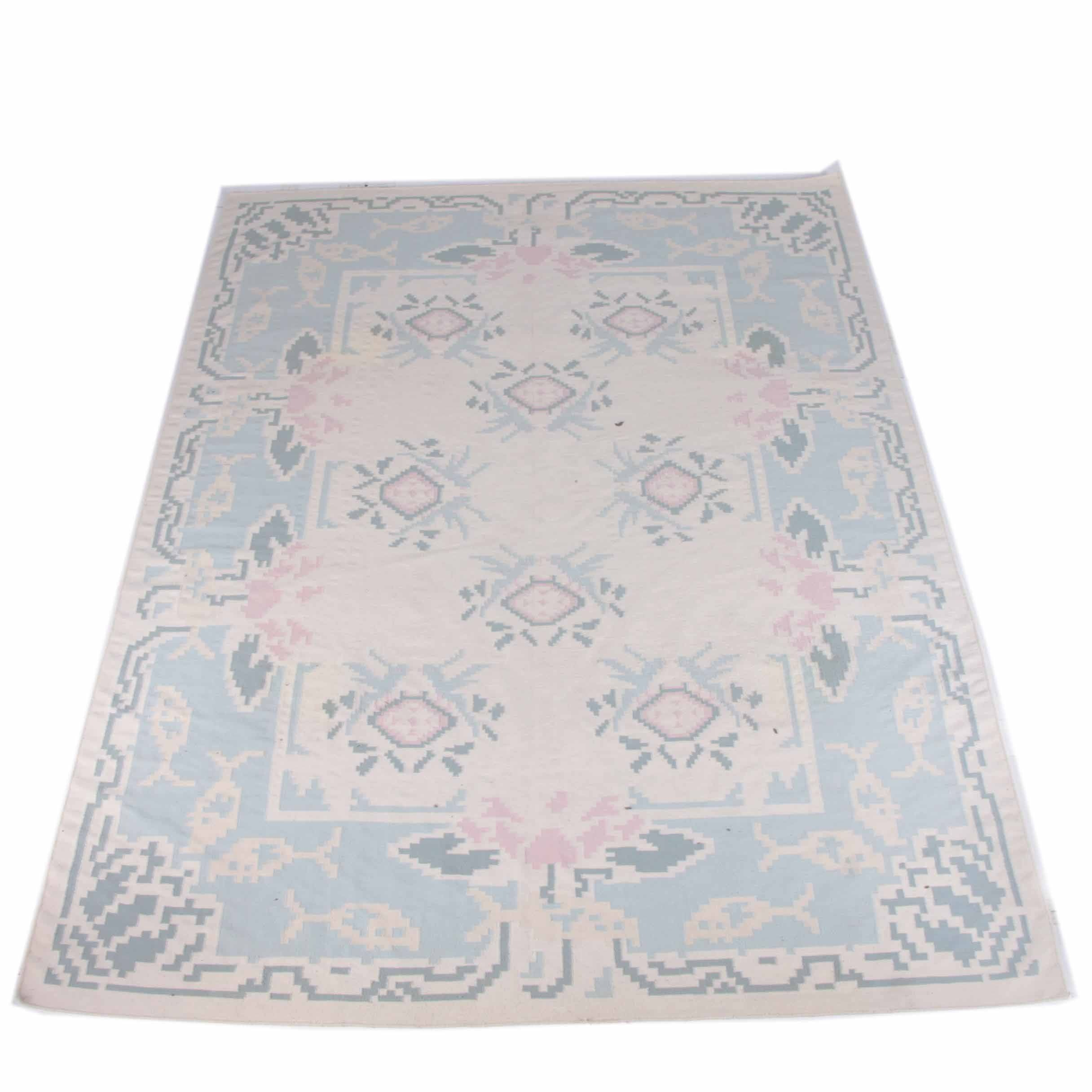 Handwoven Flat Weave Floral Area Rug