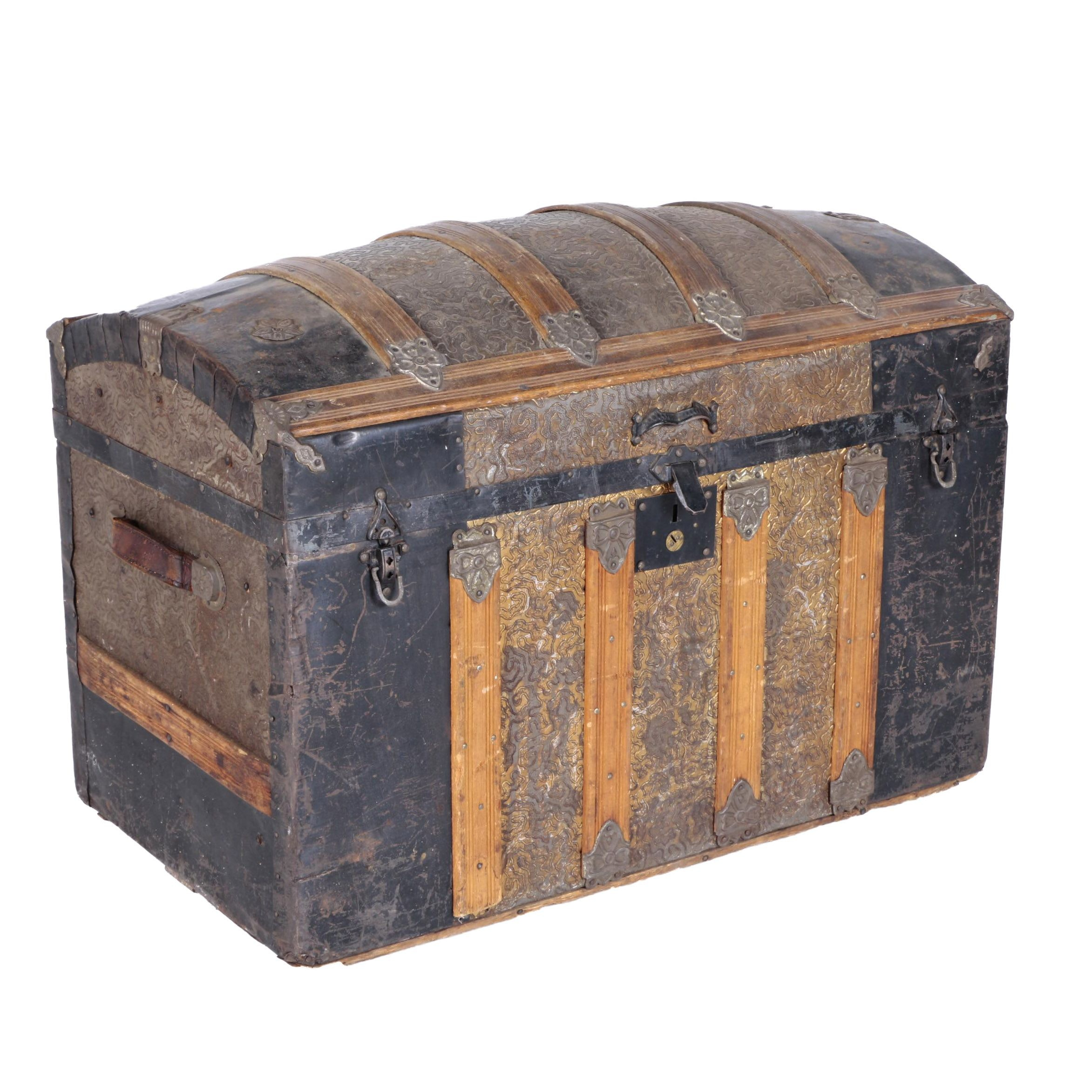 Antique Victorian Style Camelback Steamer Trunk