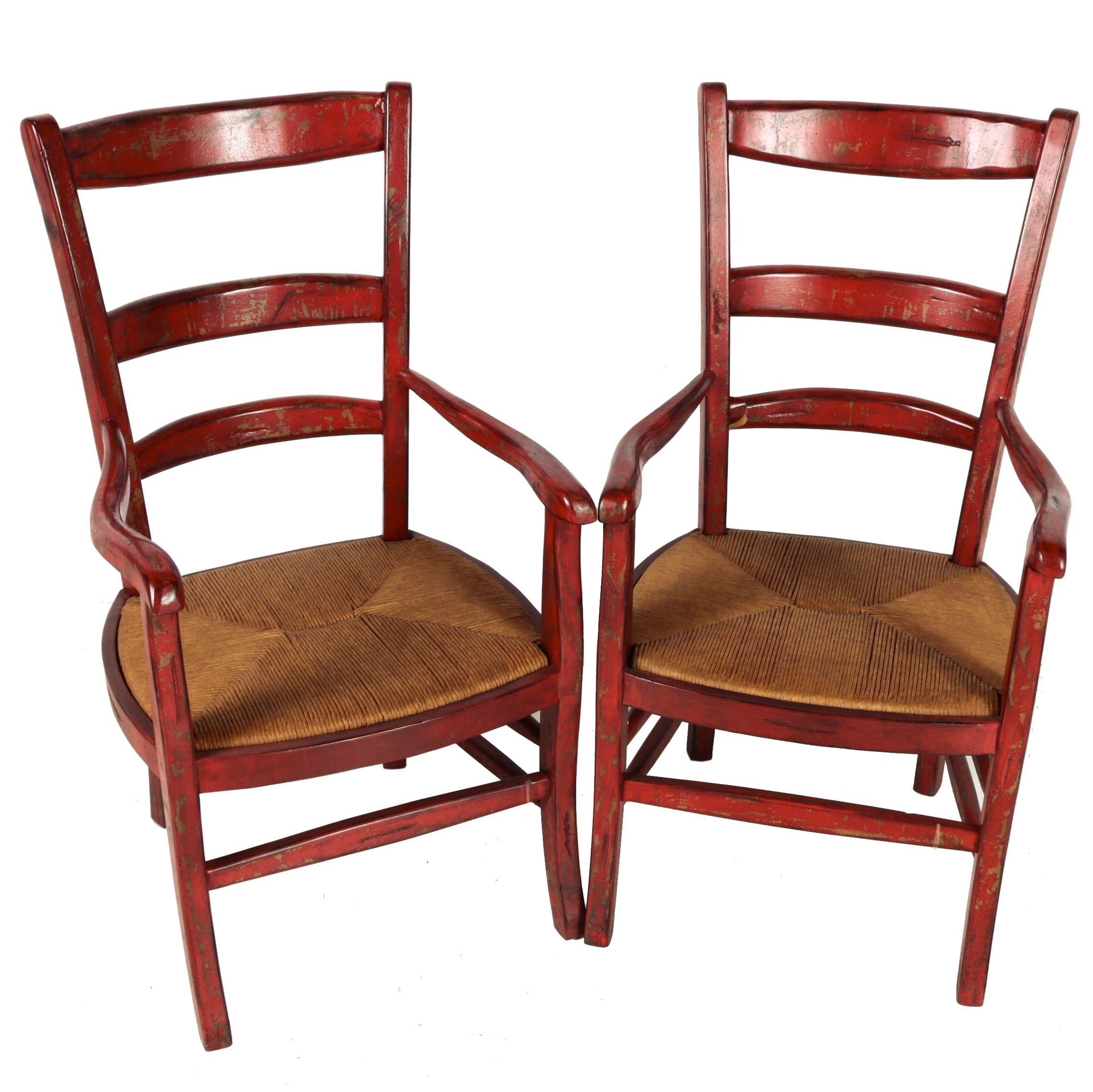 Red Ladderback Chairs with Rush Woven Seats
