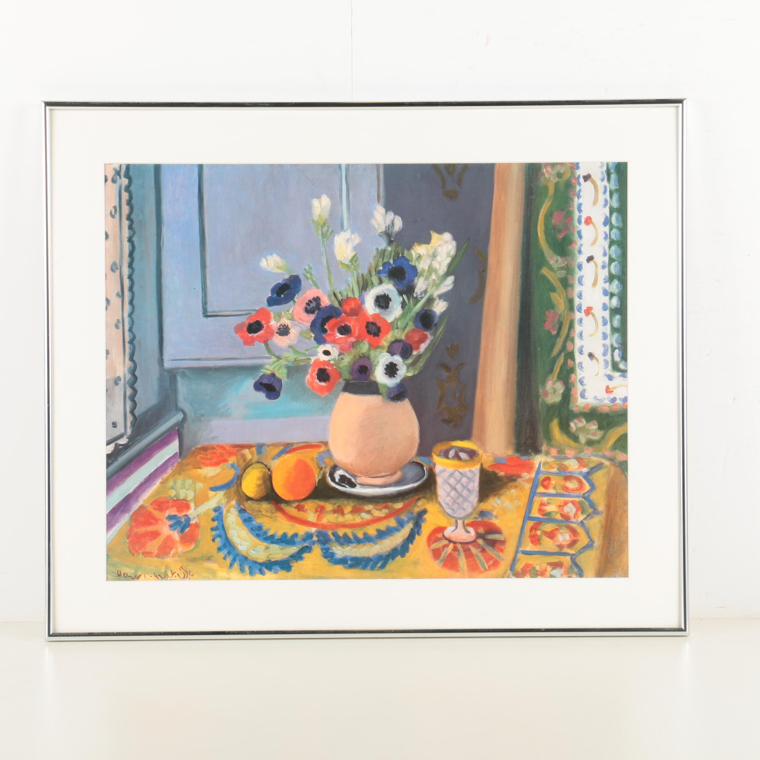 """Offset Lithograph After Henri Matisse's """"Anemones in an Earthenware Vase"""""""