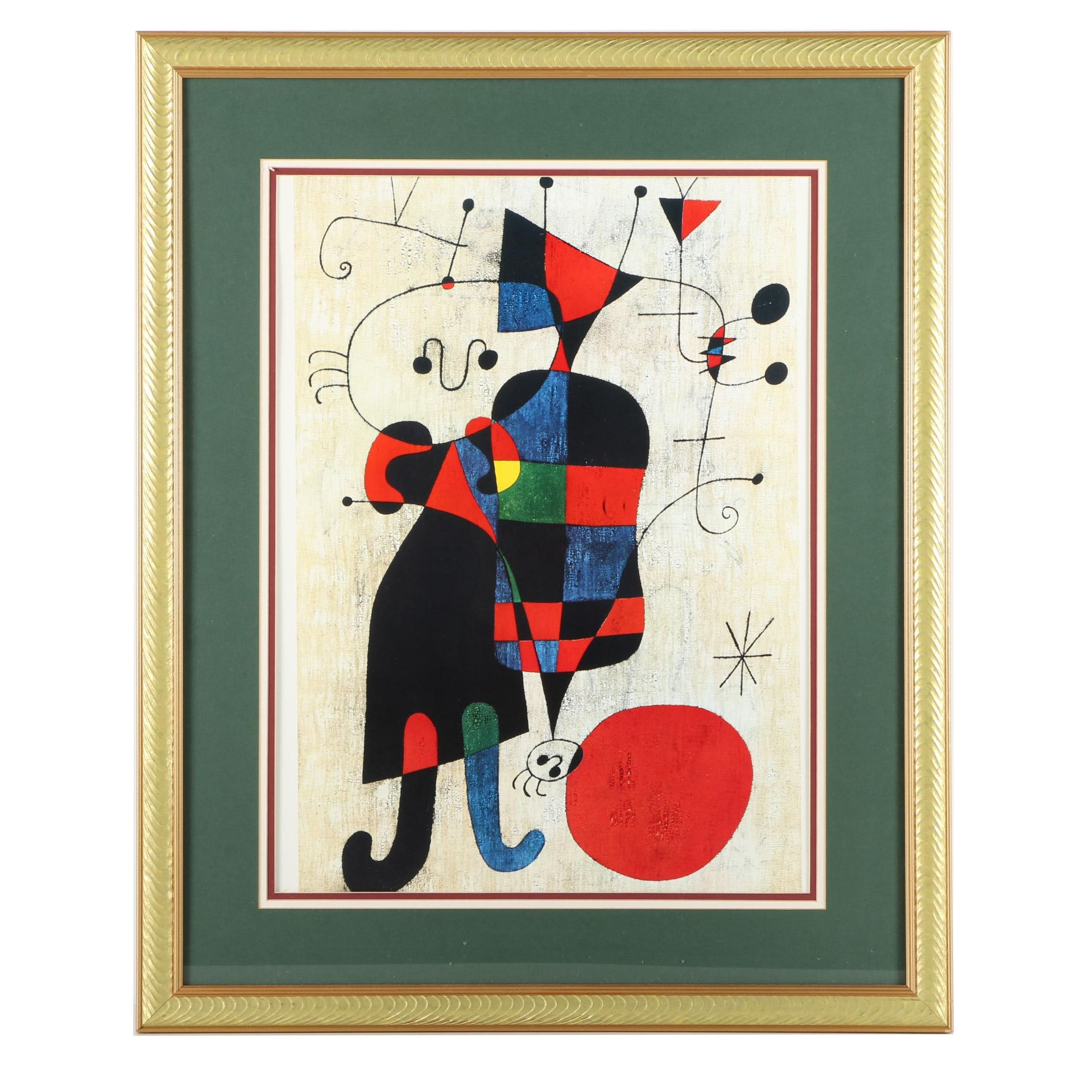 """Offset Lithograph After Joan Miró's """"Figures and Dog in Front of the Sun"""""""
