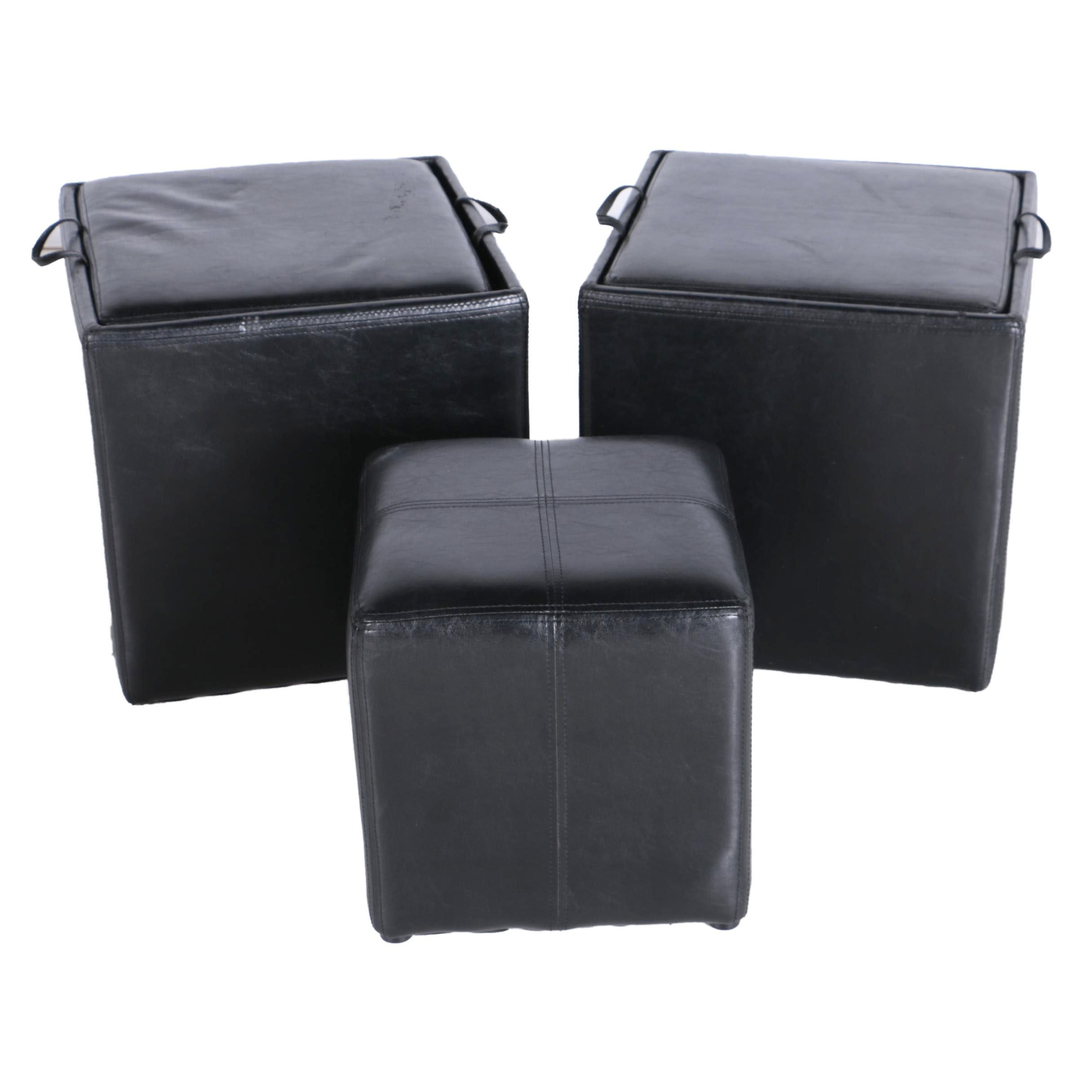 Set of Faux Leather Ottomans