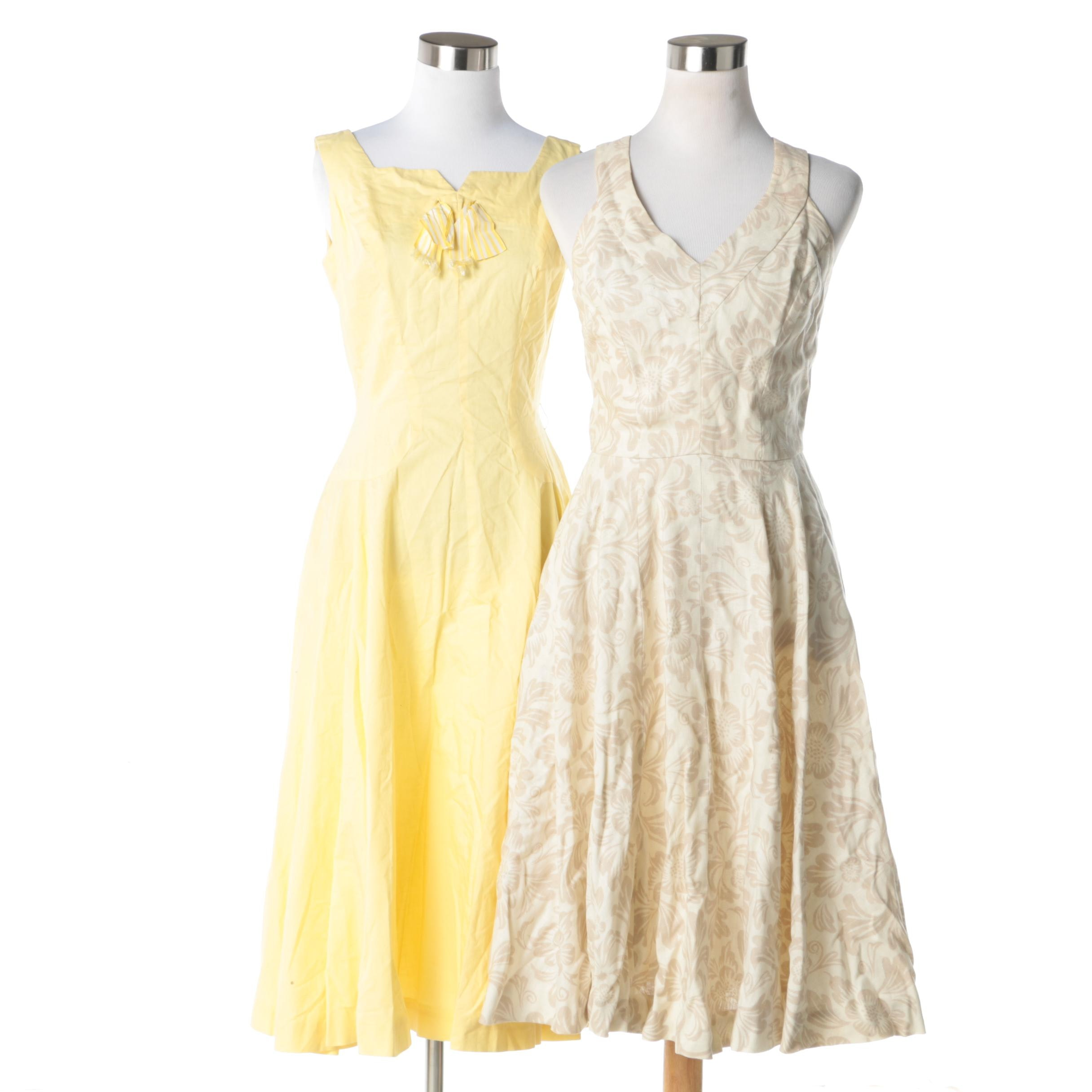 Women's Vintage Light-Colored Sleeveless Sundresses