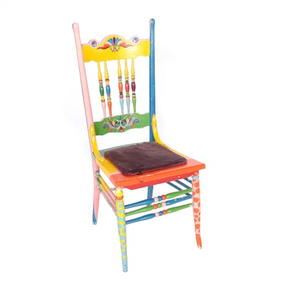 Whimsically Painted Windsor Style Chair by Bill Schiffer