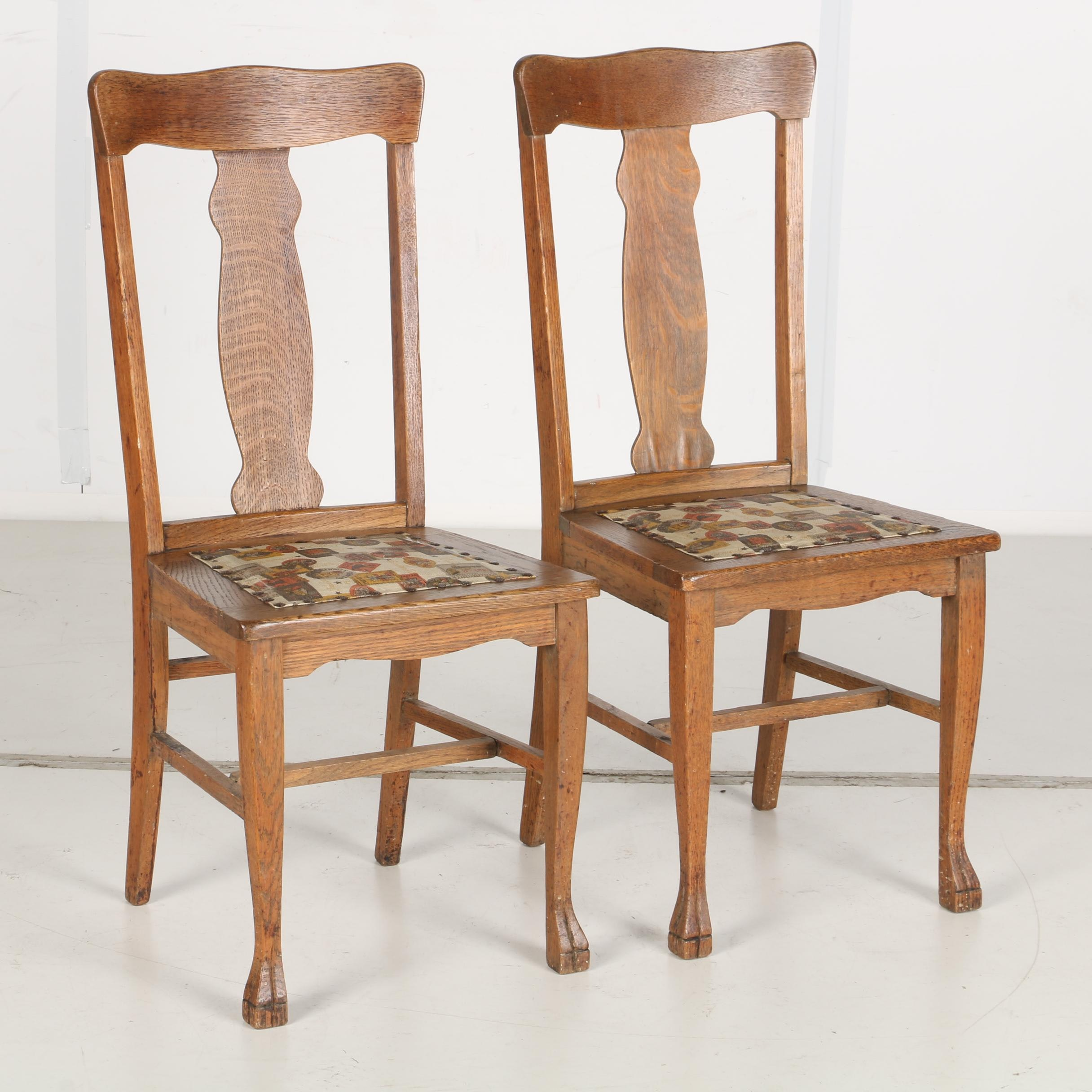 Early 20th Century Oak Side Chairs