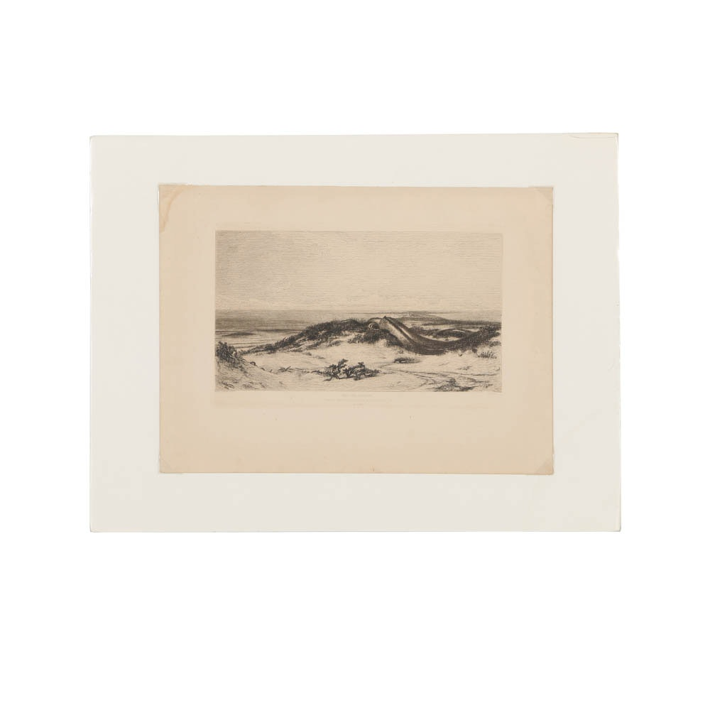"""After Elihu Vedder Etching on Paper """"The Sea Serpent"""""""