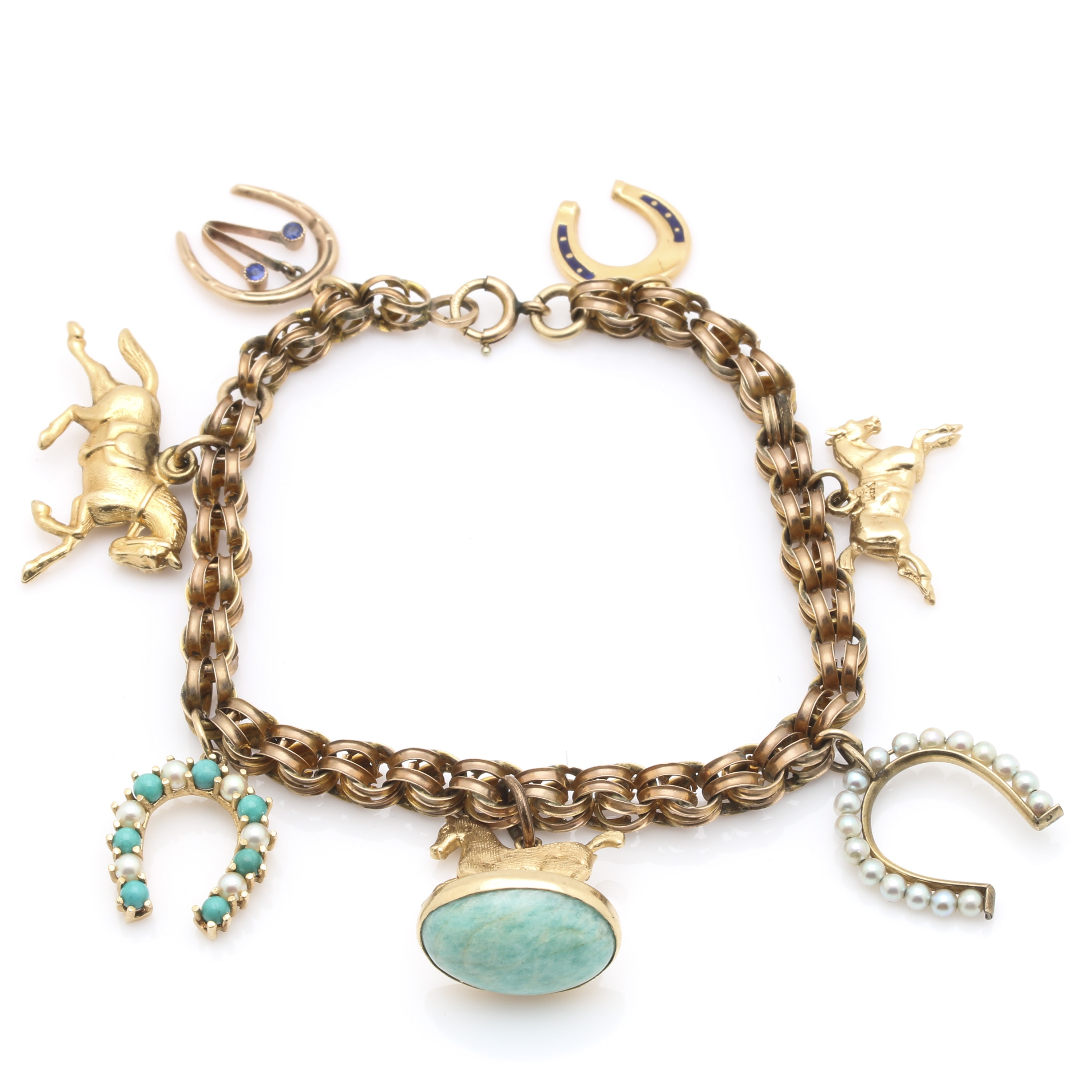 Gold Filled Equestrian Charm Bracelet With 14K Yellow Gold Charms