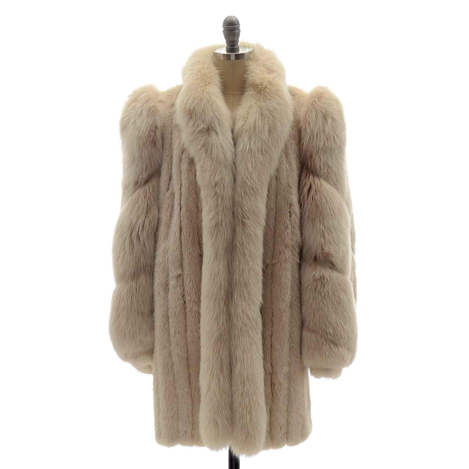 Women's Vintage Platinum Mink Fur Stroller with Arctic Fox Trim