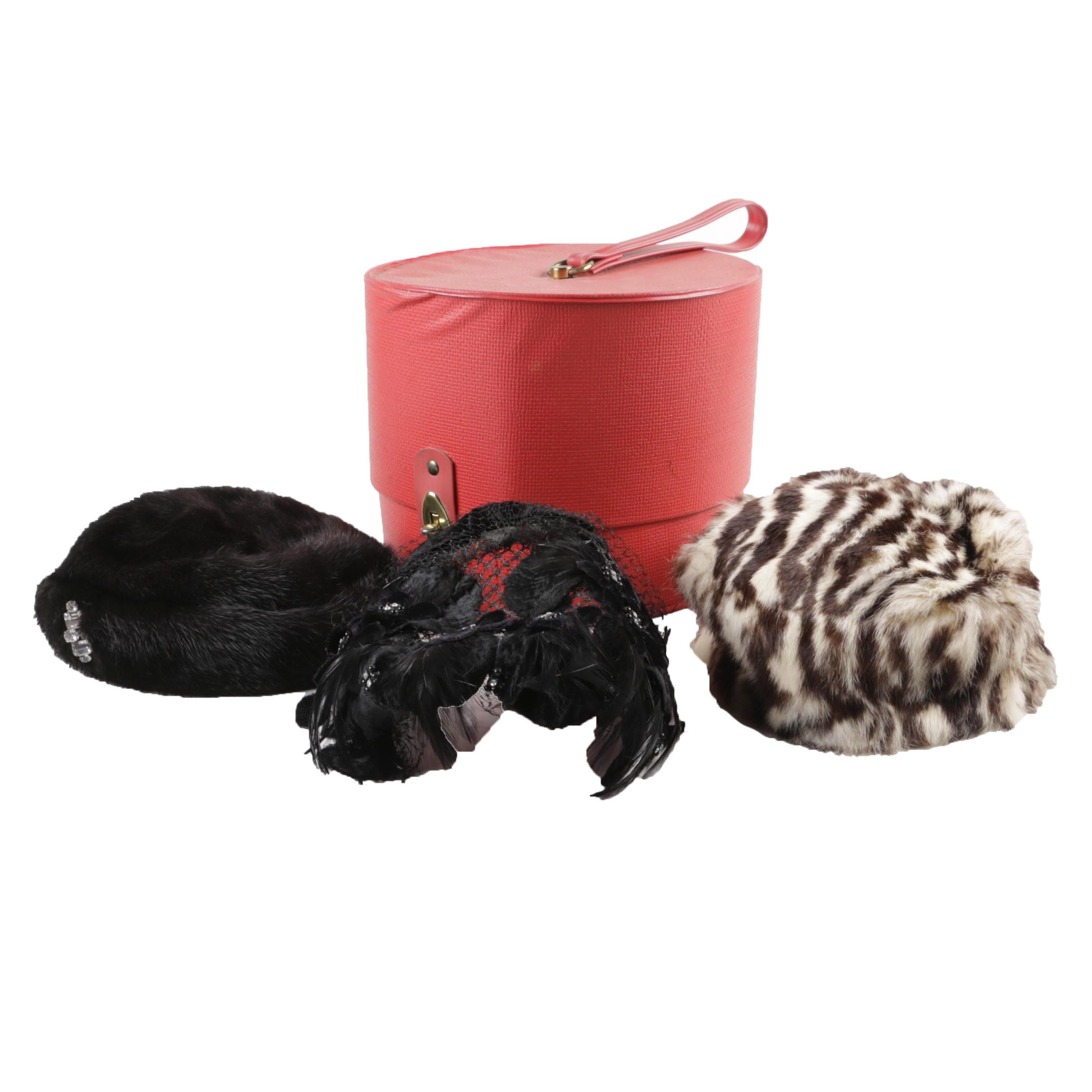 Collection of Women's Vintage Hats including Mink and Rabbit Fur