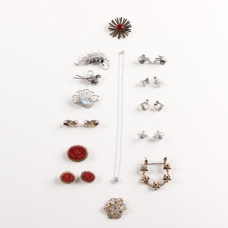 1e02e7dc681 Assorted Costume Jewelry Including Cinnabar Brooch | EBTH