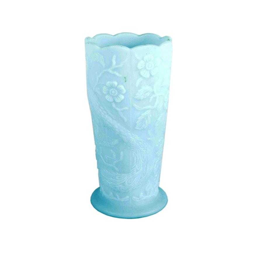 Fenton Blue Milk Glass Vase Ebth
