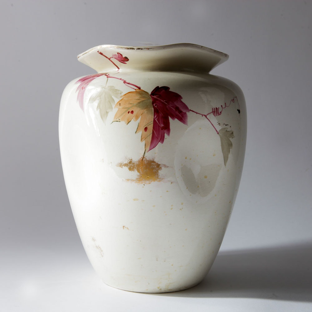 White Hand Painted Floral Vase