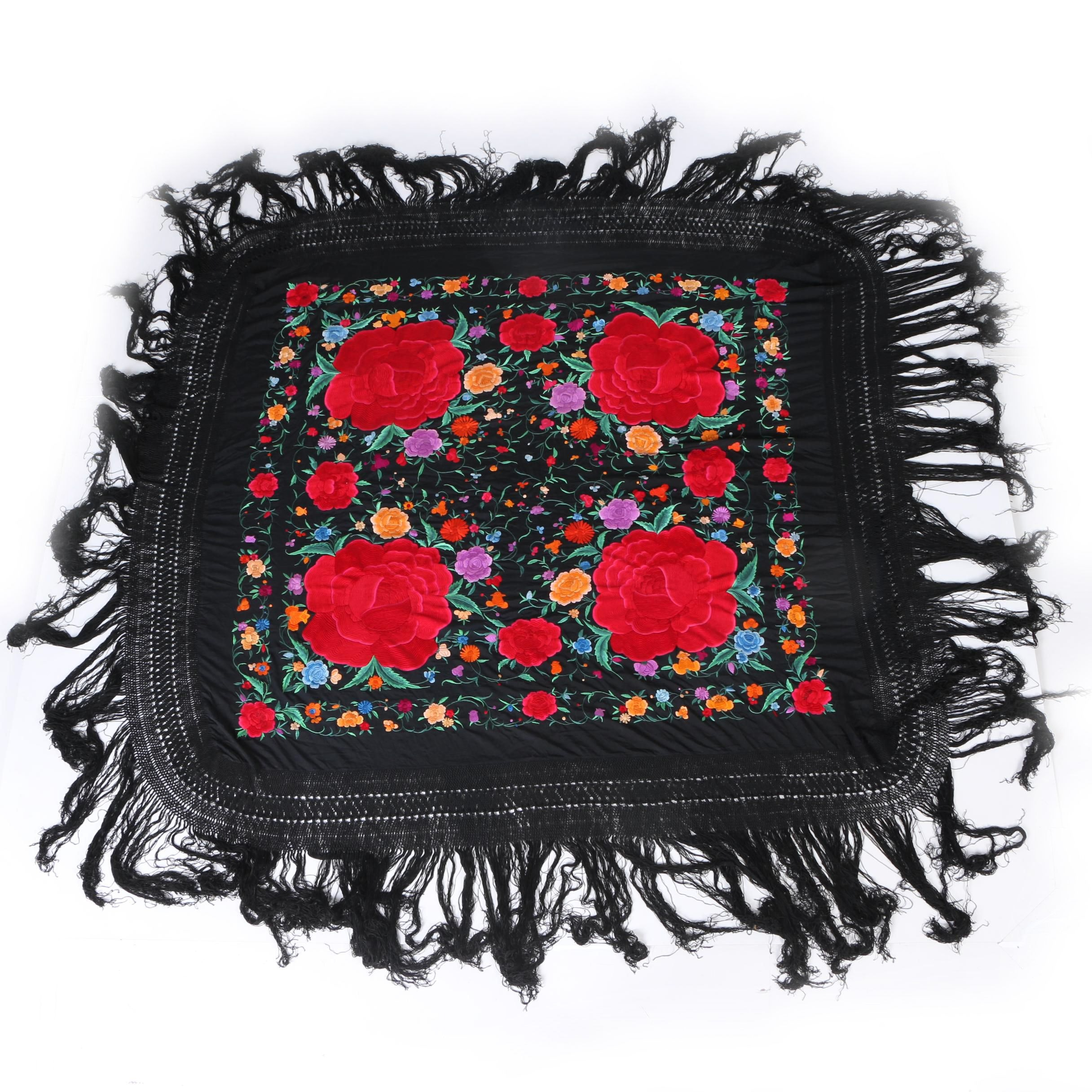 Floral Hand-Embroidered Silk Piano Shawl