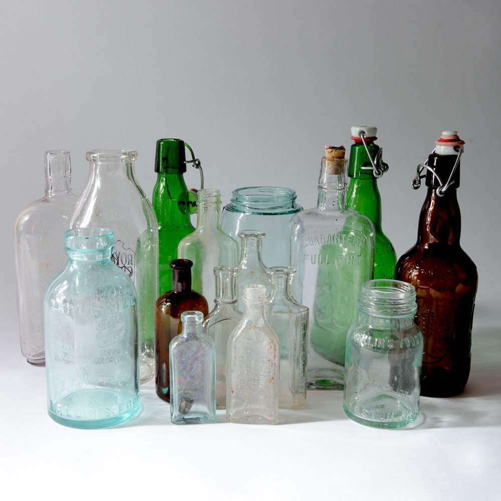 Variety of Vintage and Antique Glass Bottles