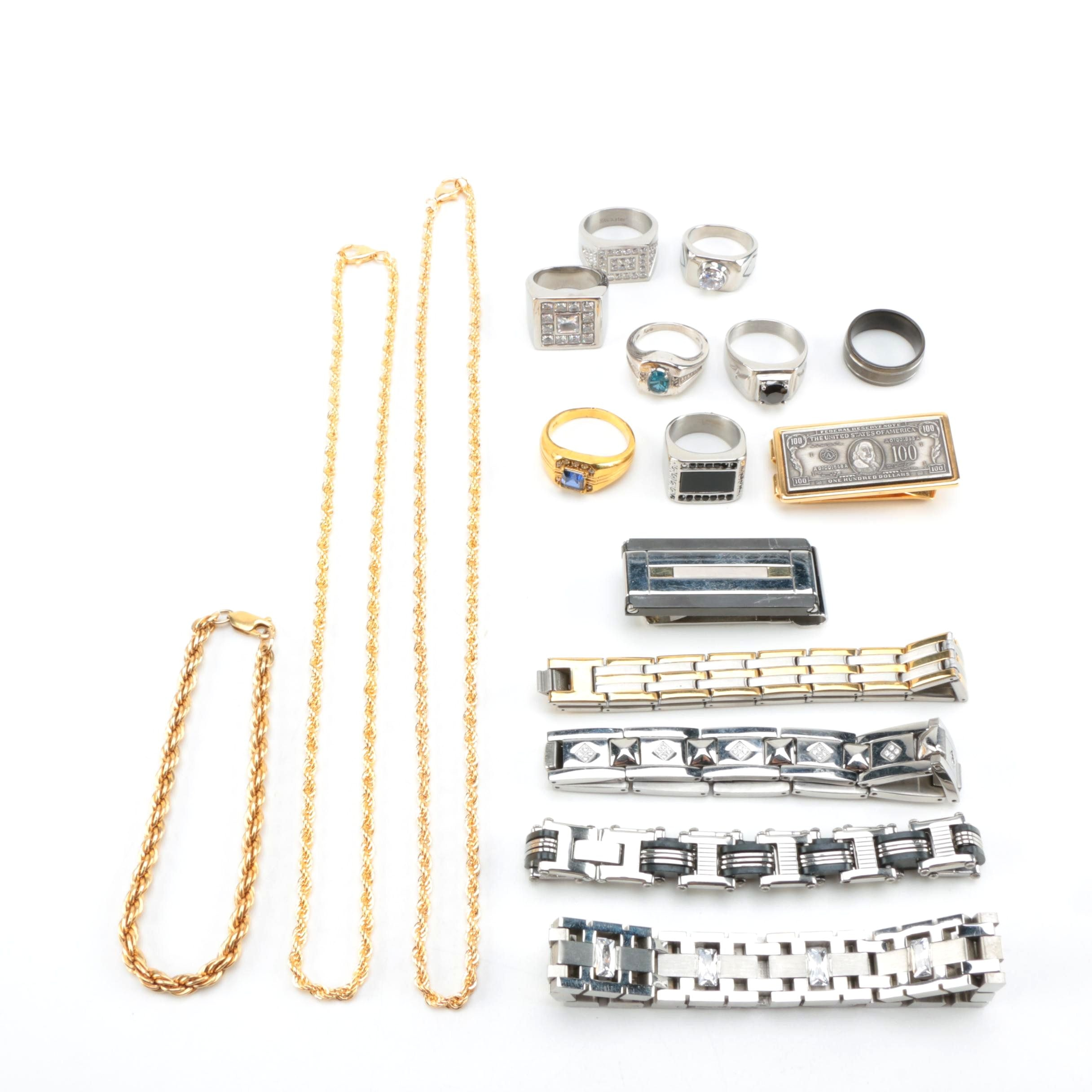 Men's Titanium, Stainless Steel, and Gold Plated Jewelry with Topaz