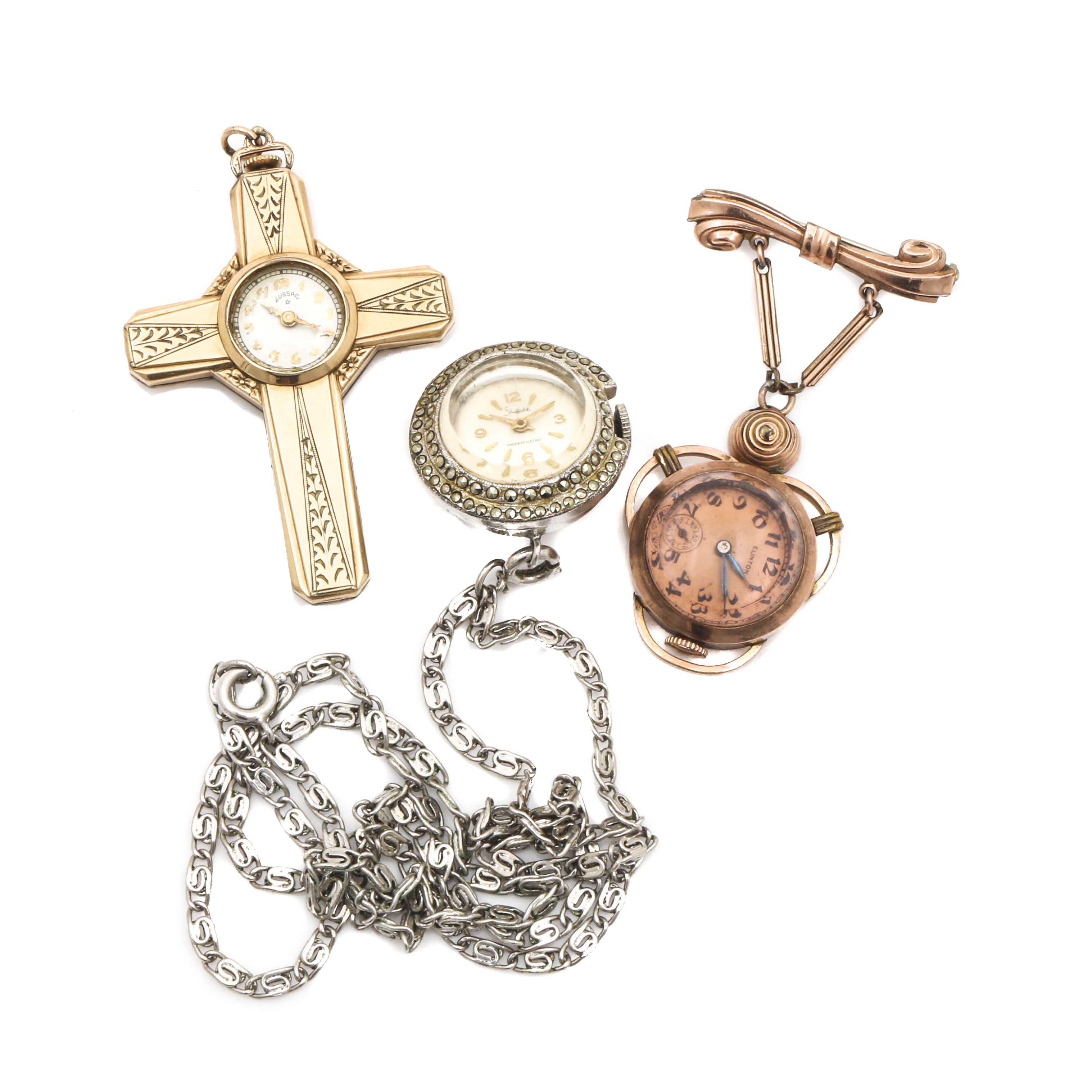 Yellow Tone, Rose Tone and Silver Tone Watch Brooch and Pendants