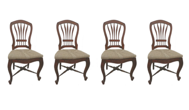 Set of Four French Provincial Style Cherry Dining Chairs