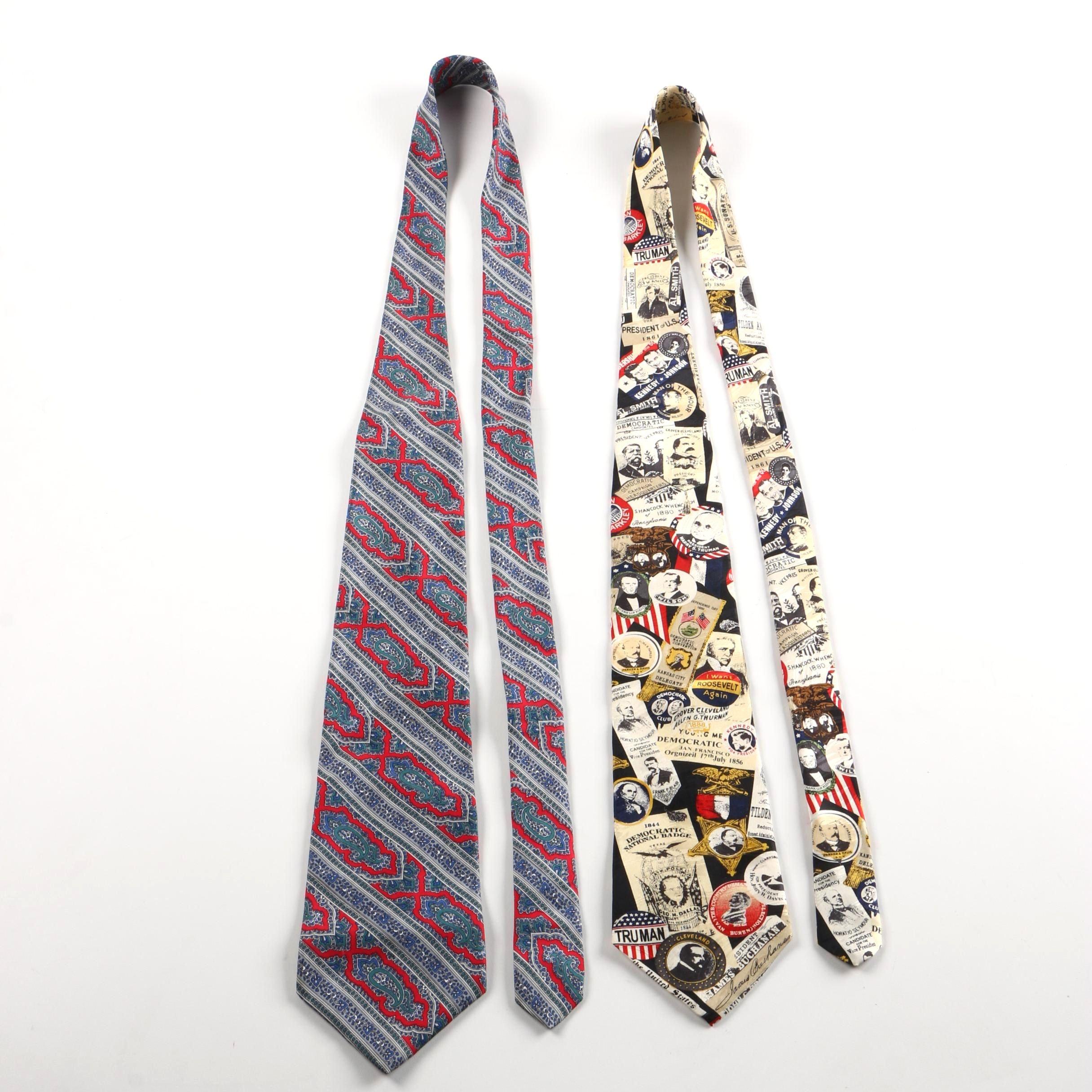 Pierre Cardin Silk Necktie with Museum Artifacts Tie