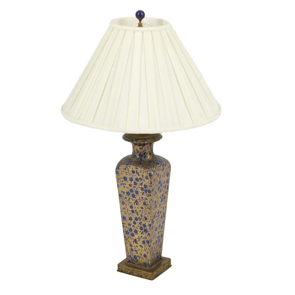 Vintage Table Lamp in Gold with Blue Florals in Enamel