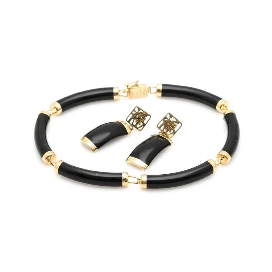 87caae1f9c9e0e Chinese 14K Yellow Gold Black Onyx Bracelet and Earrings : EBTH