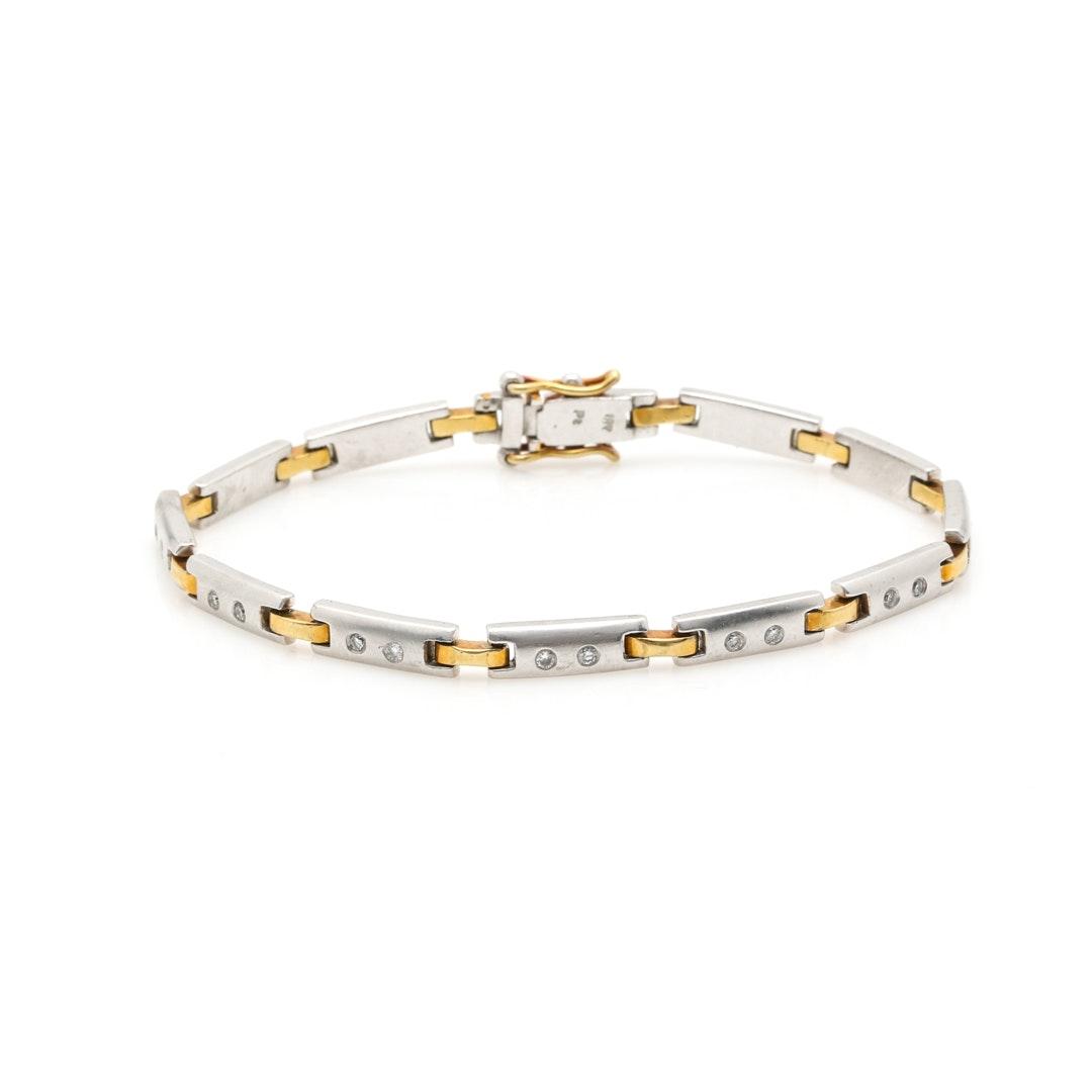 Platinum and 18K Yellow Gold Diamond Link Bracelet