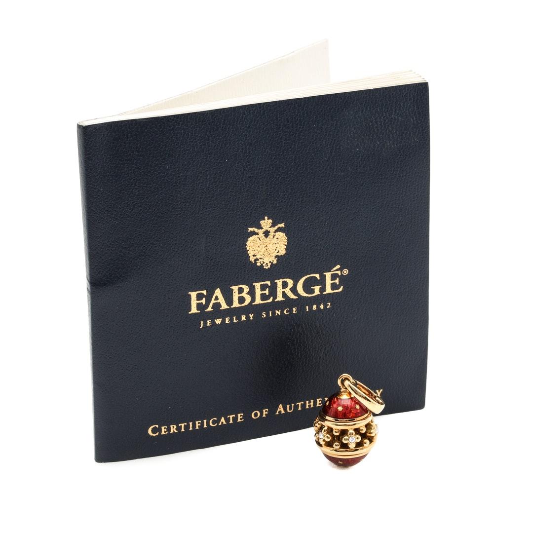 Fabergé 18K Yellow Gold Red Enamel Diamond Egg Enhancer Pendant