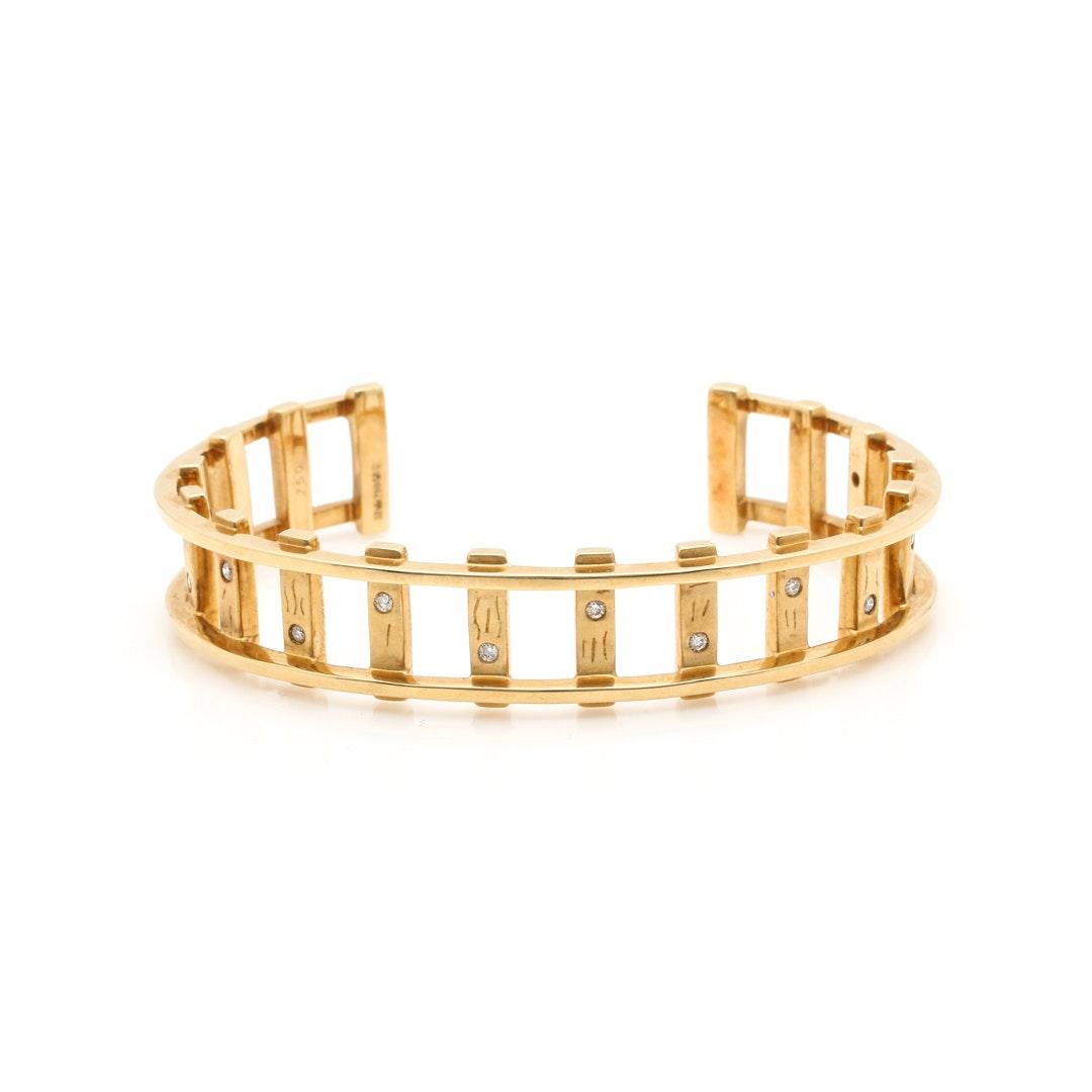 "18K Yellow Gold Diamond ""Orient Express"" Cuff Bracelet"