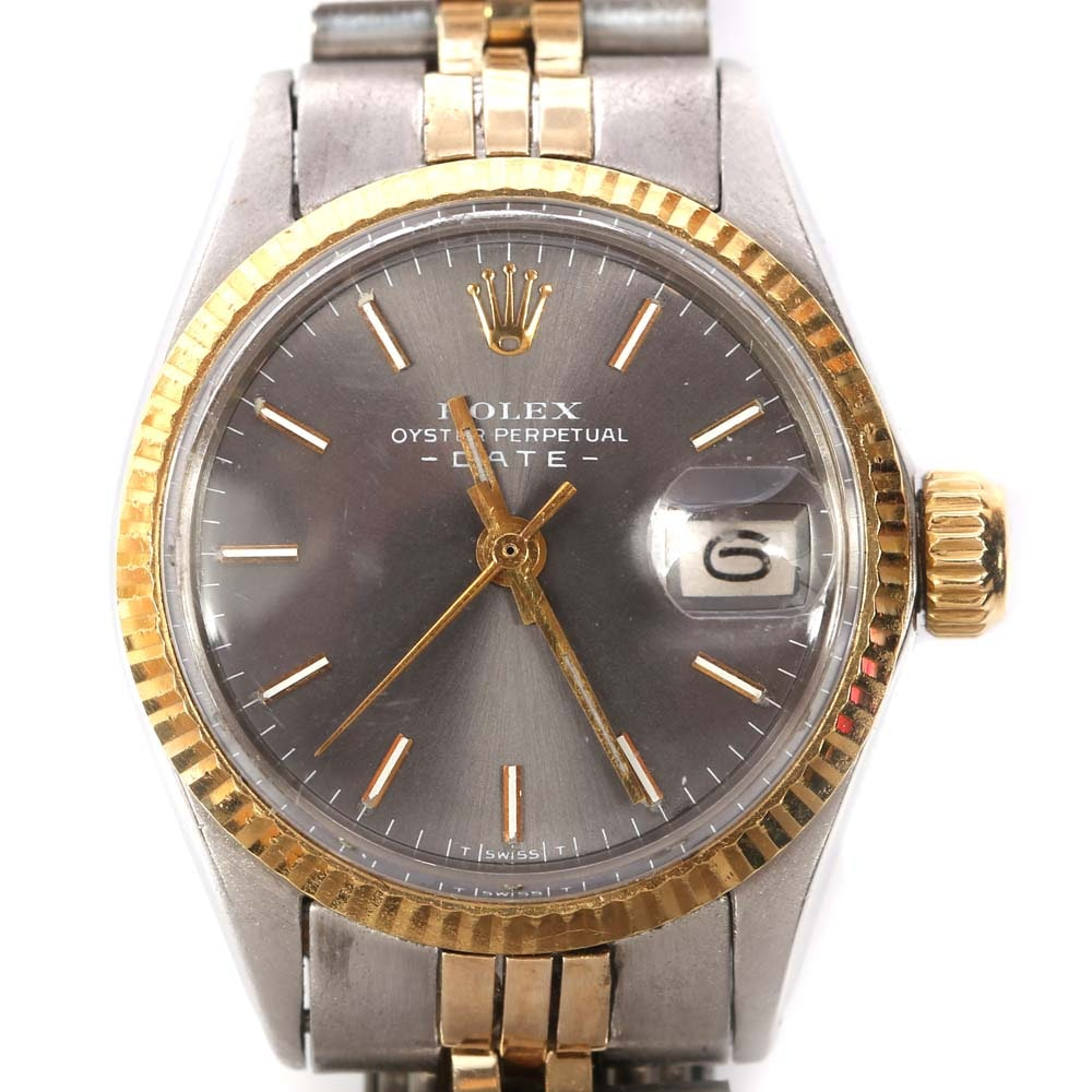 Rolex Oyster Perpetual Date 14K Yellow Gold and Stainless Steel Wristwatch