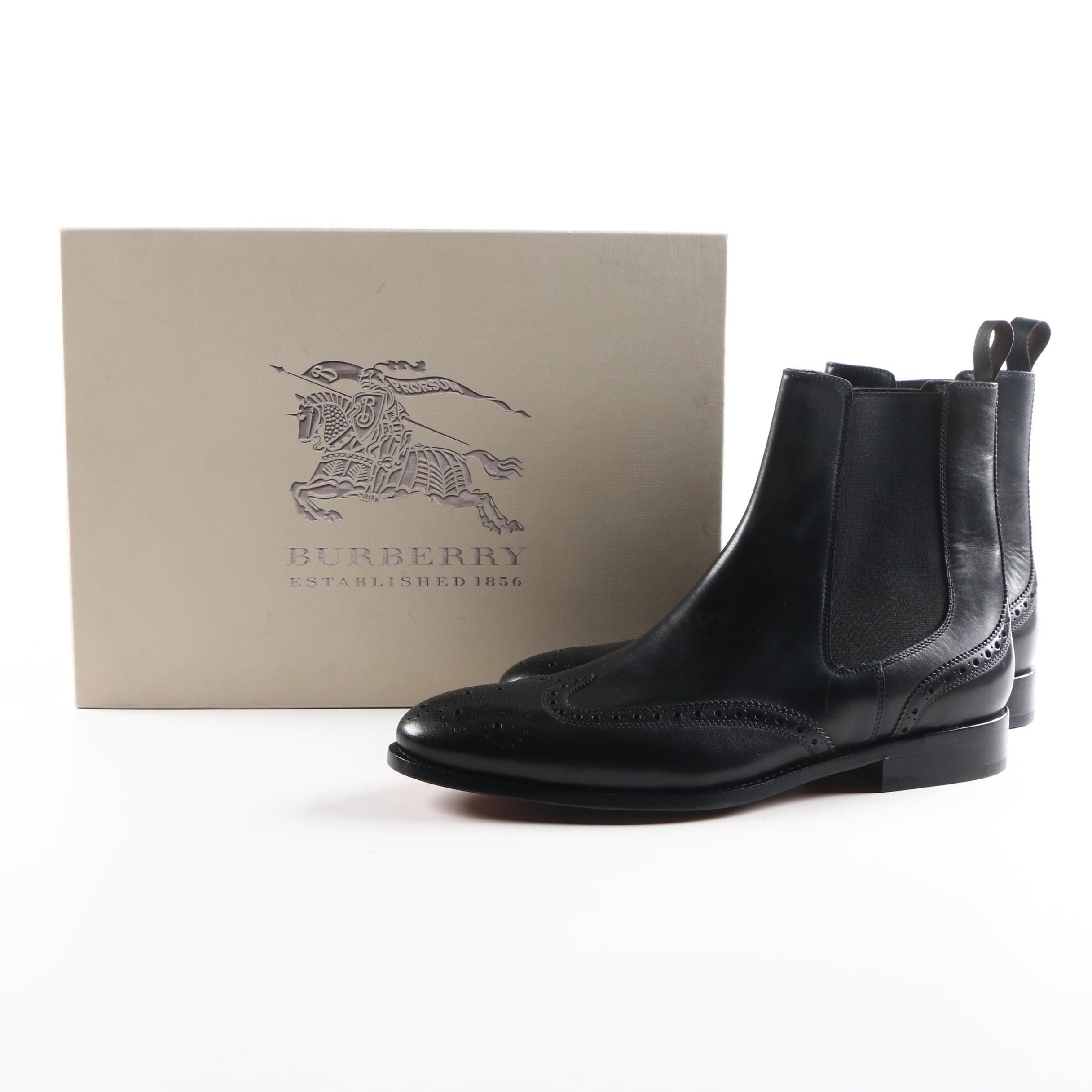 Burberry Black Leather Chelsea Brogue Boots