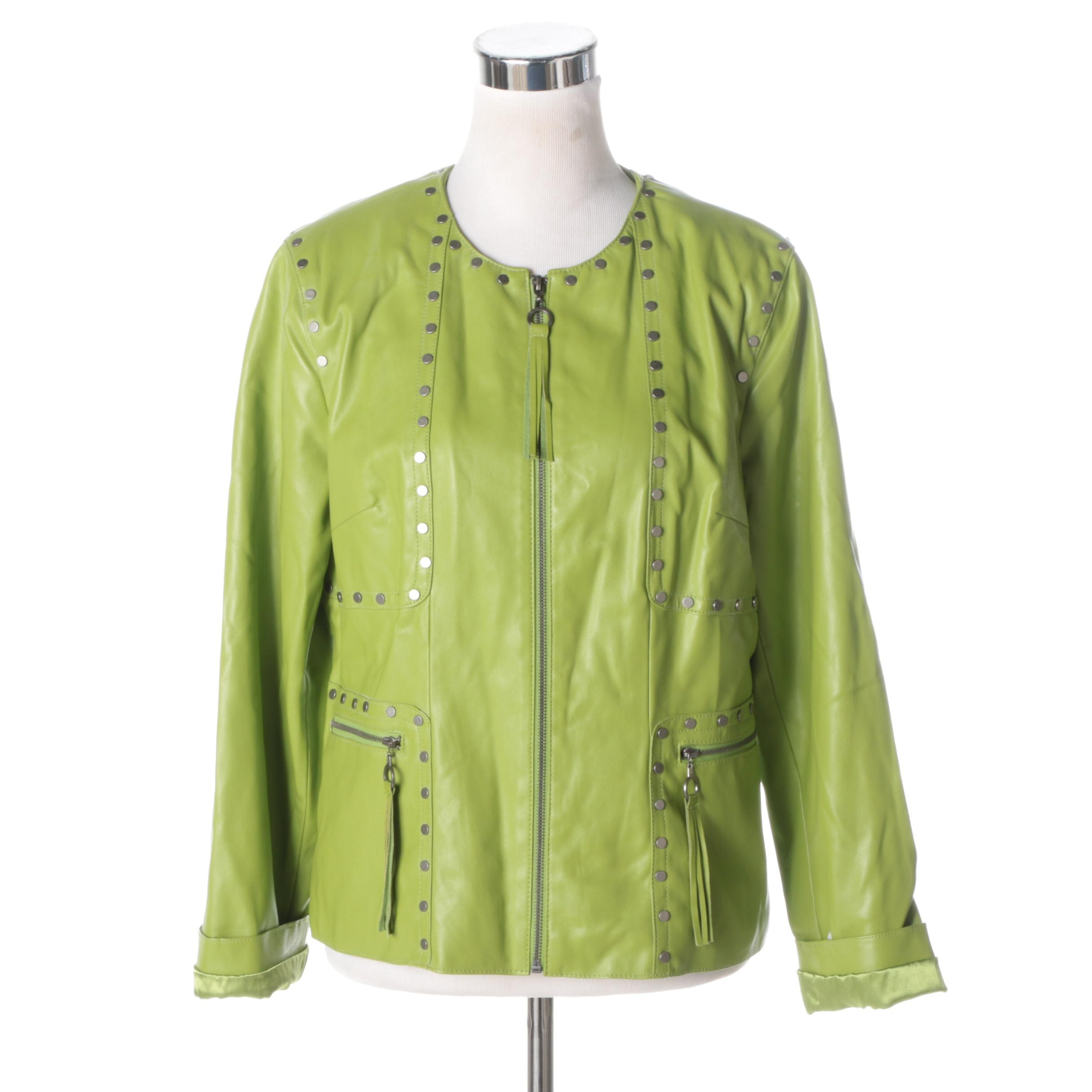 Women's Chi by Falchi Lime Green Faux Leather Jacket