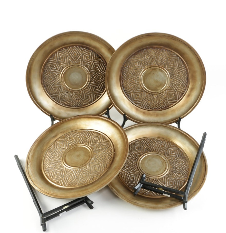 Set Of Gold Tone Decorative Charger Plates