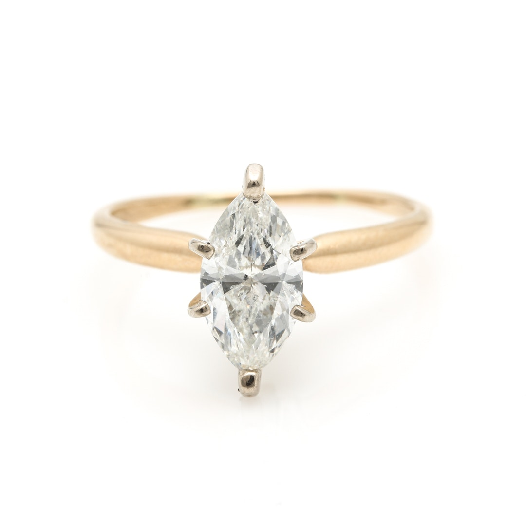 14K Yellow Gold 0.97 CT Diamond Solitaire Ring