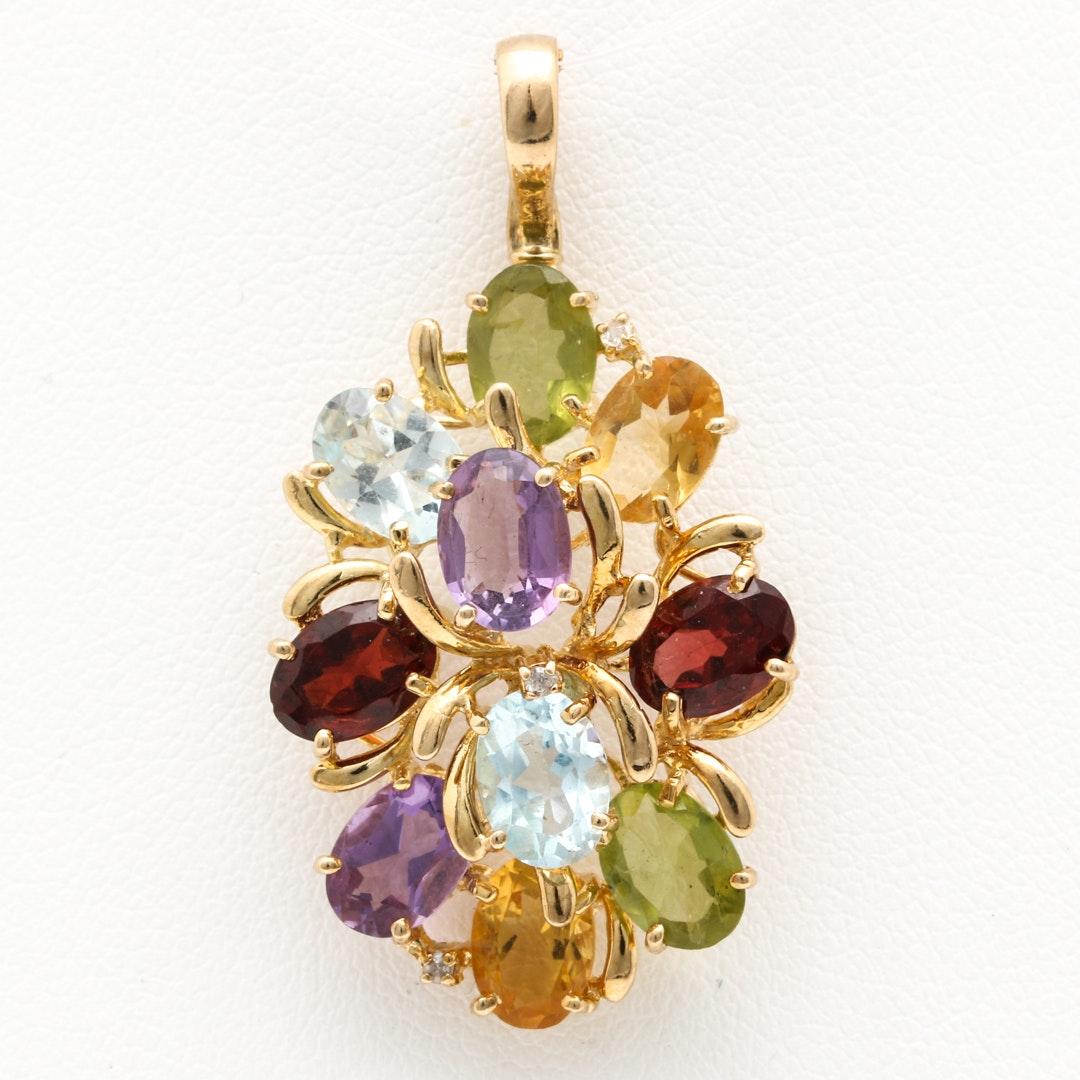 14K Yellow Gold Clustered Gemstone Pendant