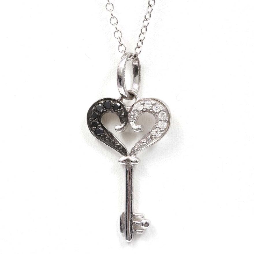 Sterling silver diamond and black diamond key pendant necklace ebth sterling silver diamond and black diamond key pendant necklace mozeypictures Images